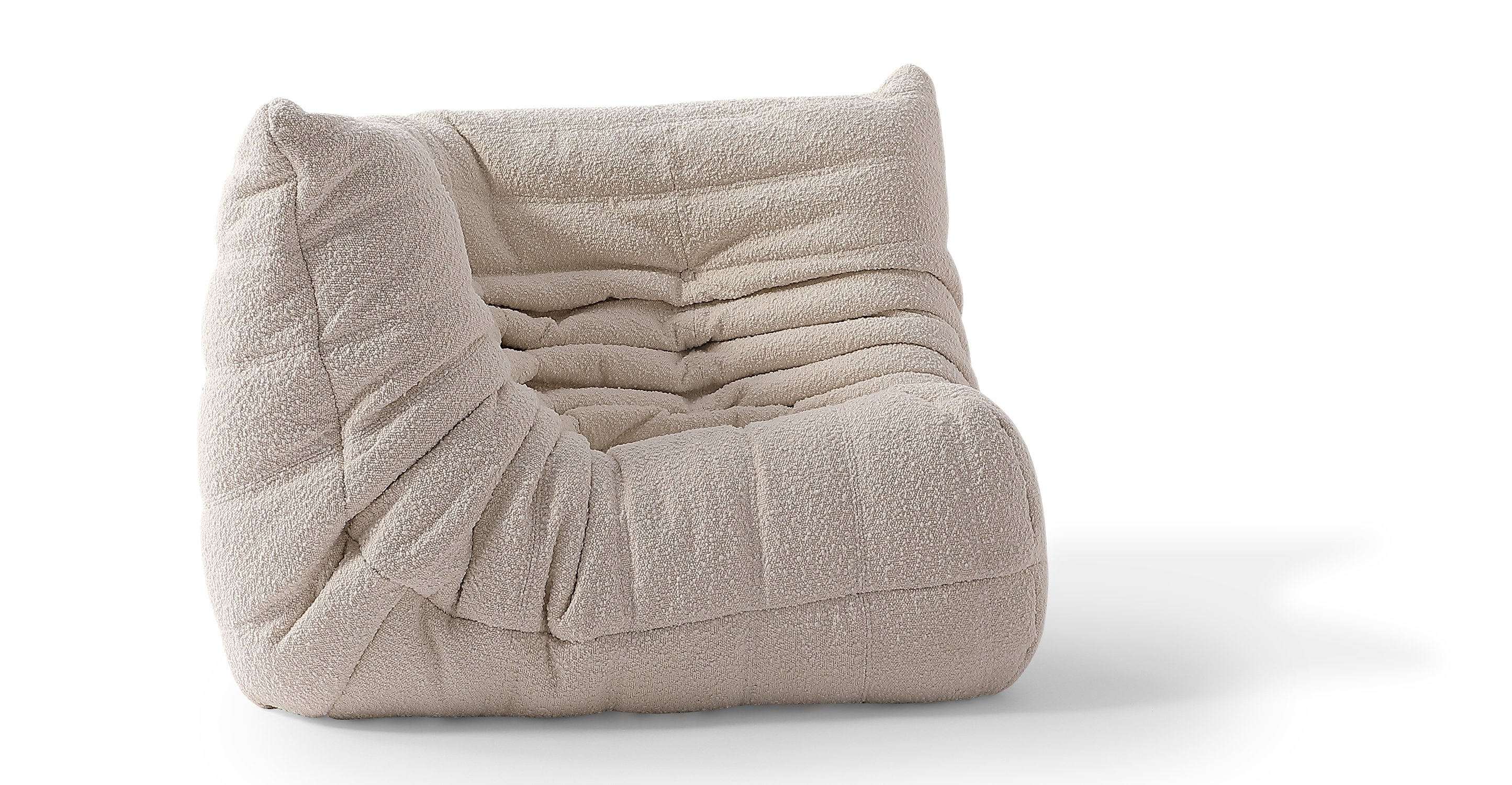 "Louvre 40"" Fabric Corner Chair, Blanc Boucle"