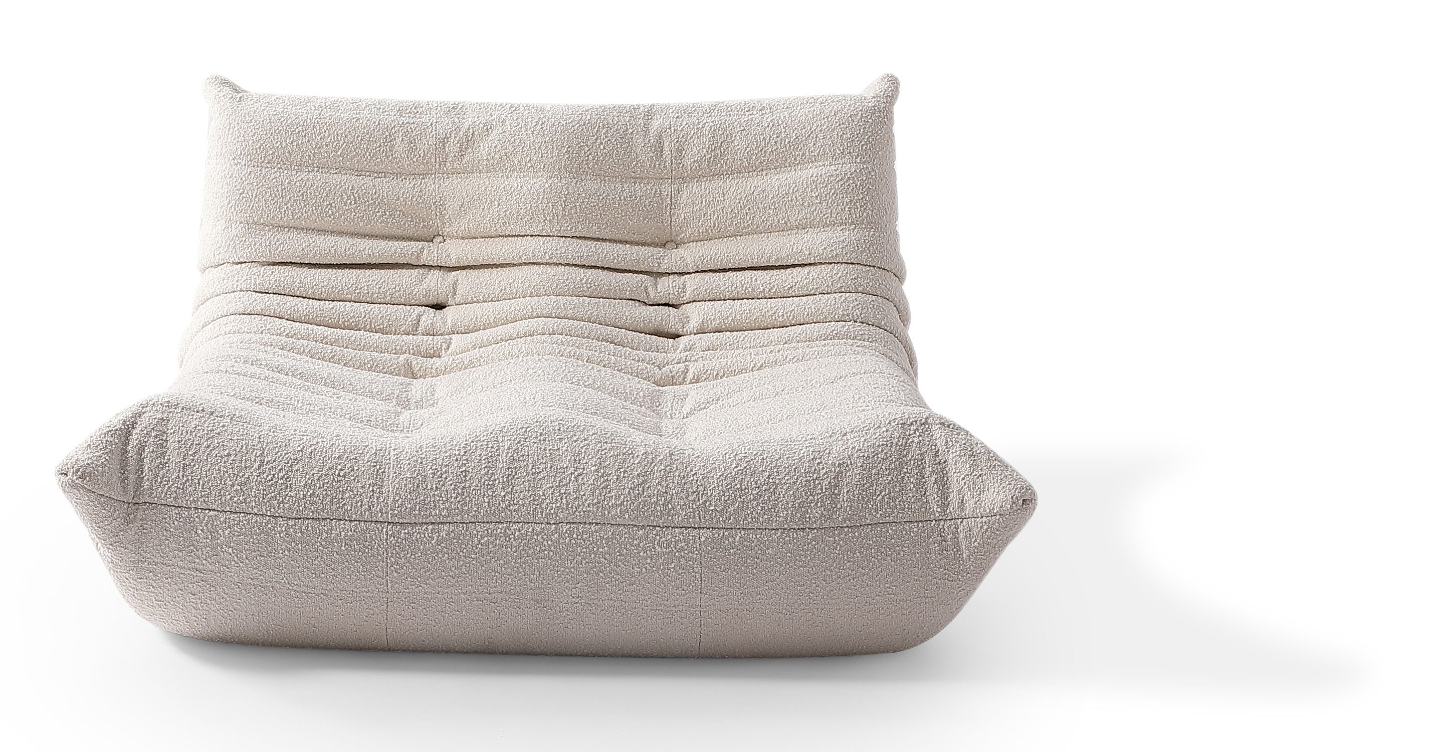 "Louvre 53"" Fabric 2-Seat Lounge Sofa, Blanc Boucle"