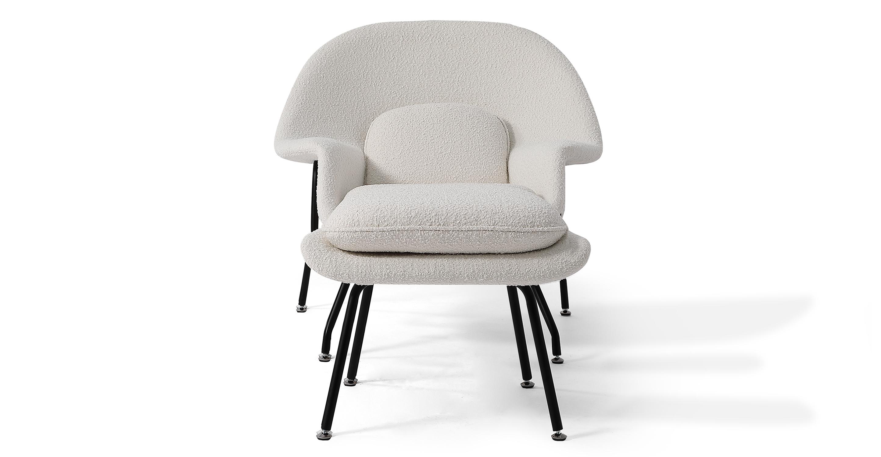 Womb Fabric Chair & Ottoman, Blanc Boucle
