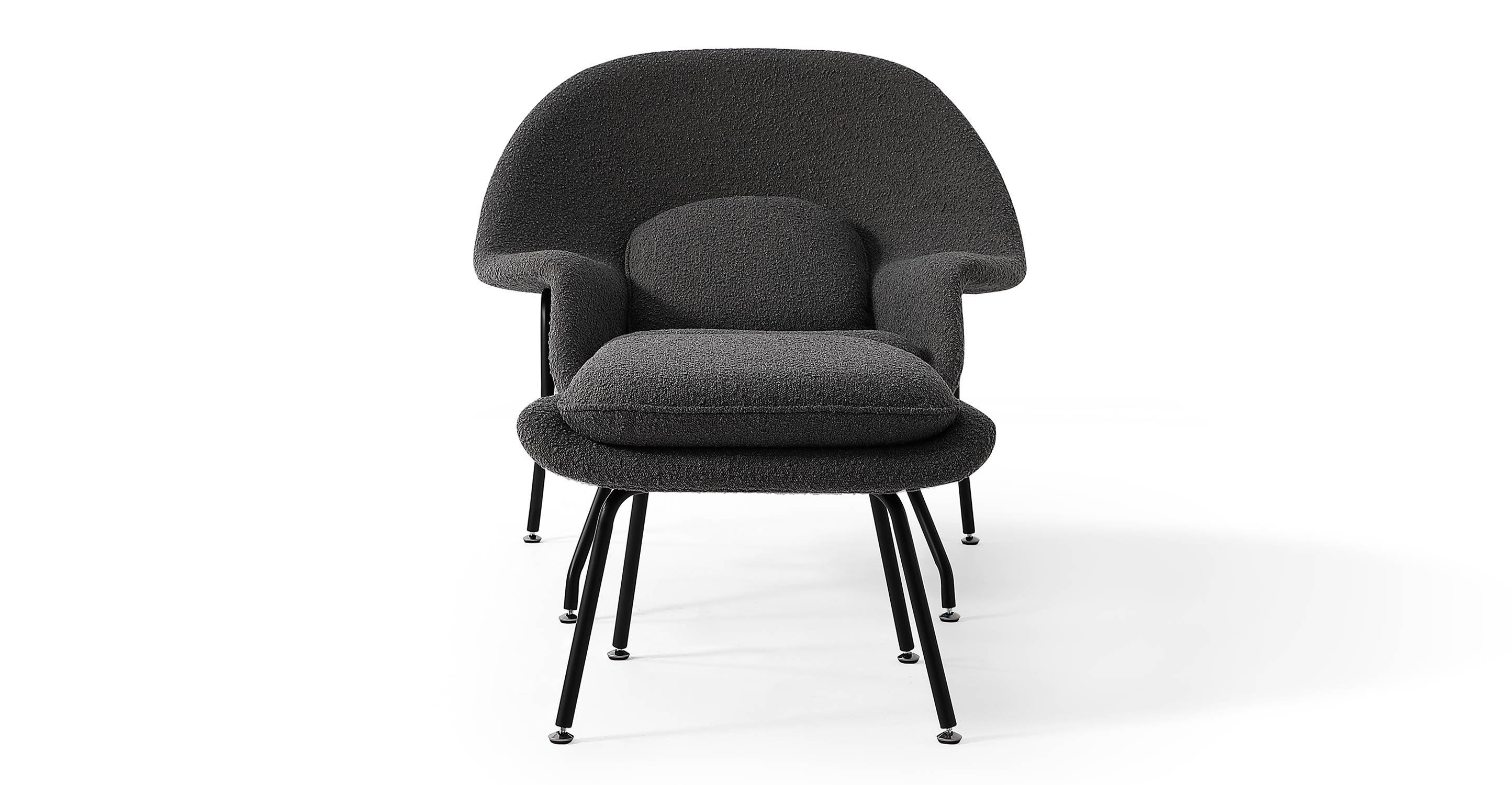 Womb Fabric Chair & Ottoman, Gris Boucle