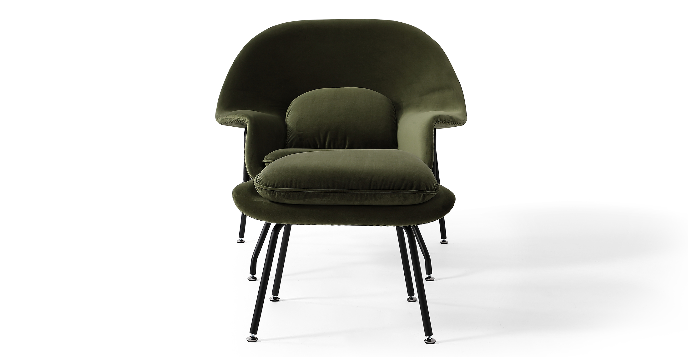 Womb Fabric Chair & Ottoman, Fern Velvet