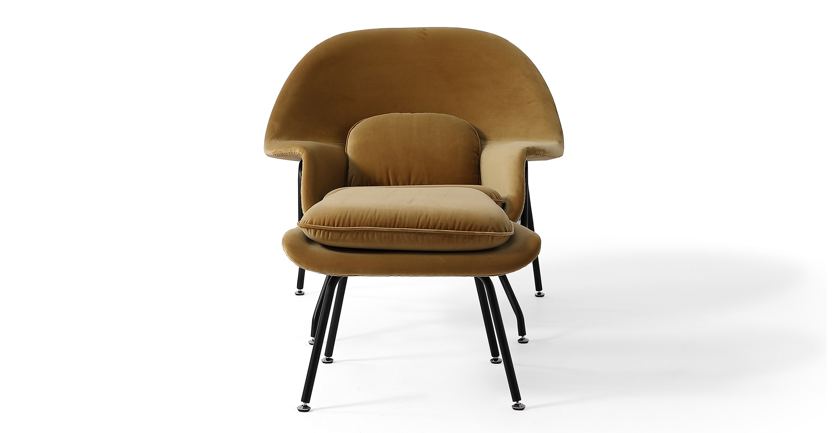Womb Fabric Chair & Ottoman, Merigold Velvet