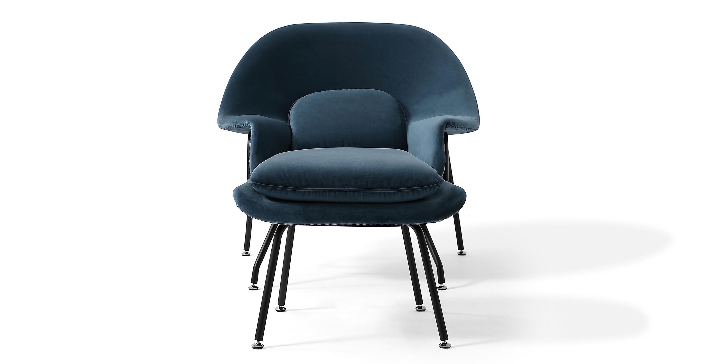 Womb Fabric Chair & Ottoman, Petrol Velvet
