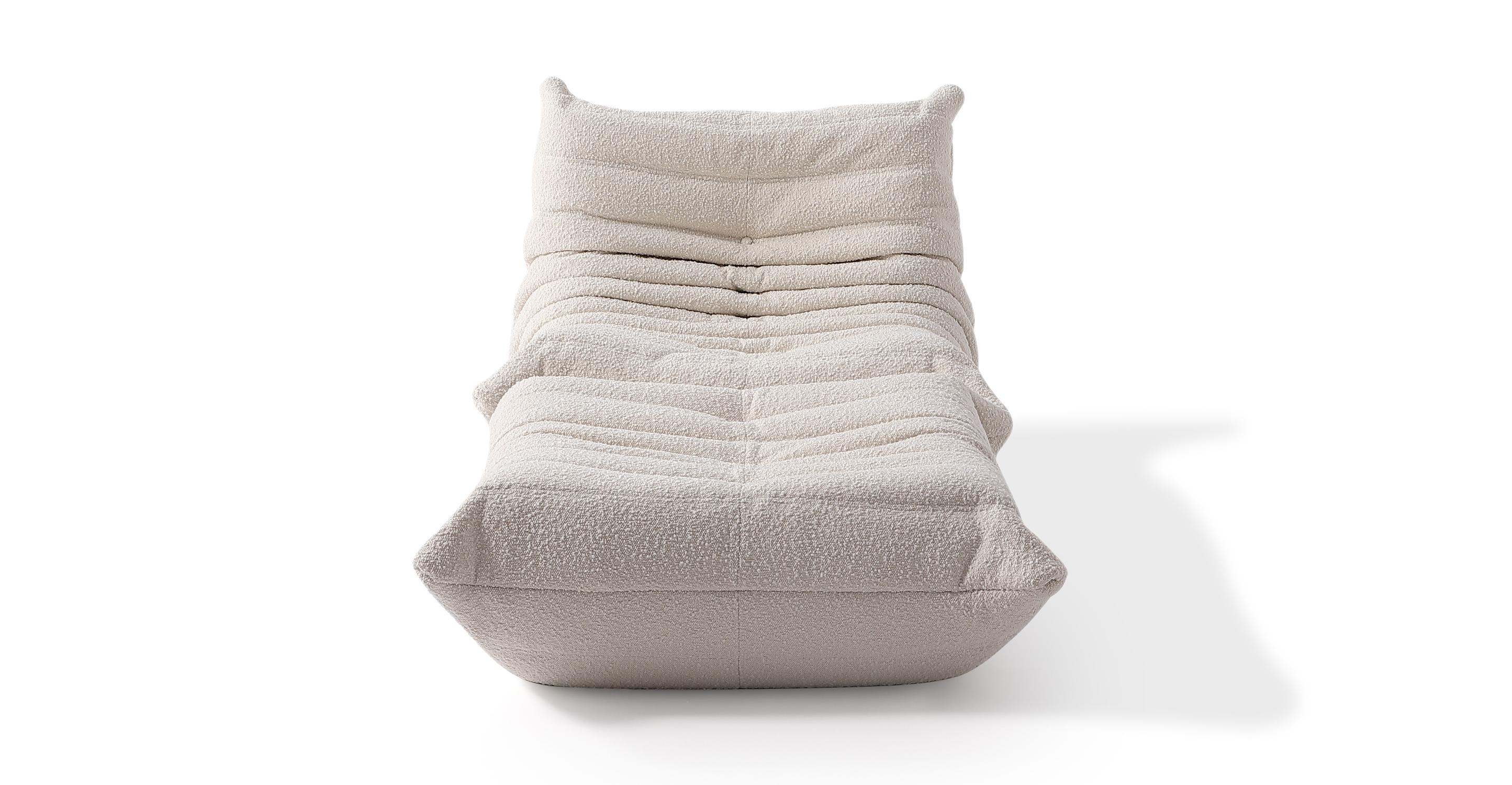 Louvre Fabric Chair & Ottoman, Blanc Boucle
