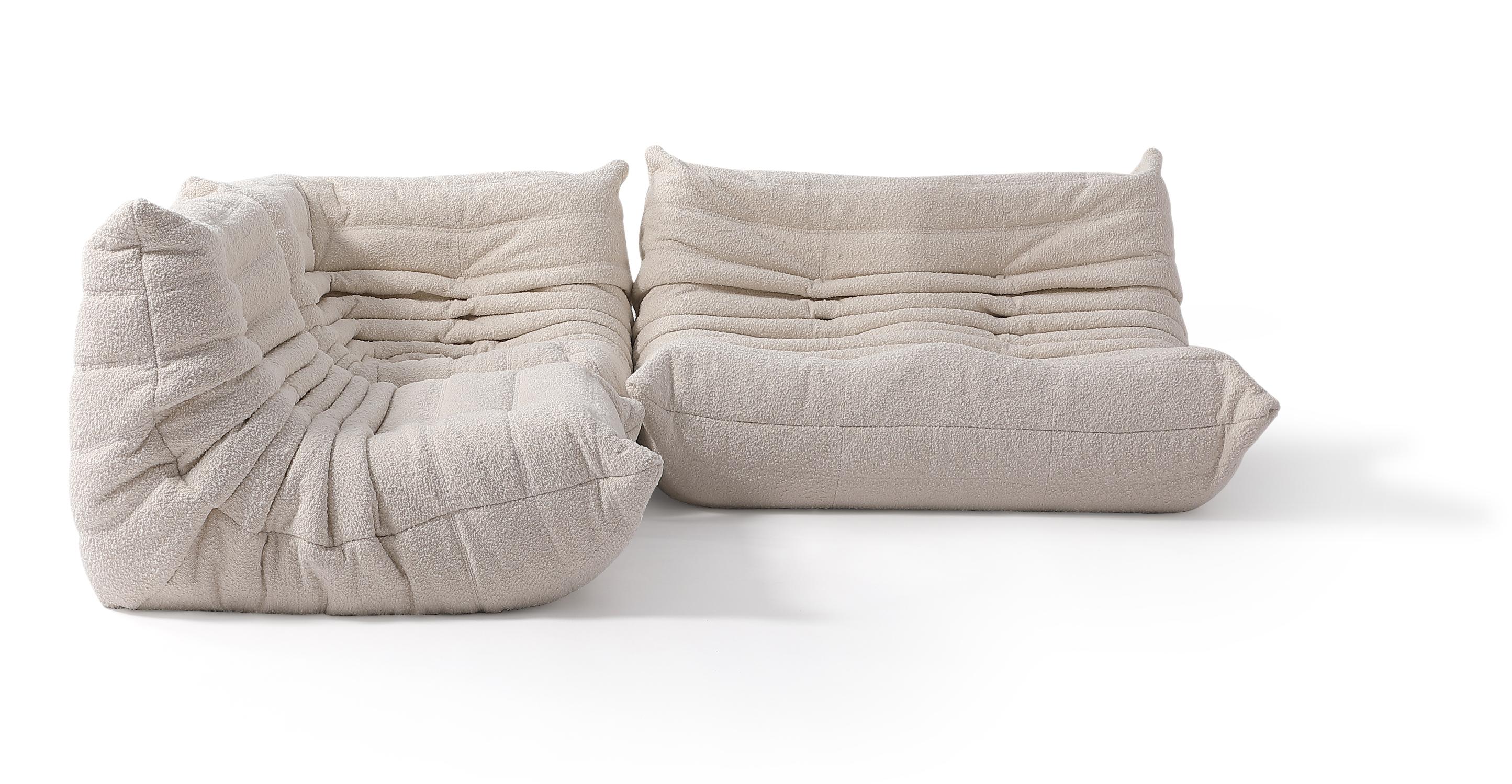 """Louvre Modular 93"""" Nikki 3-pc Fabric Sofa, Blanc Boucle"""