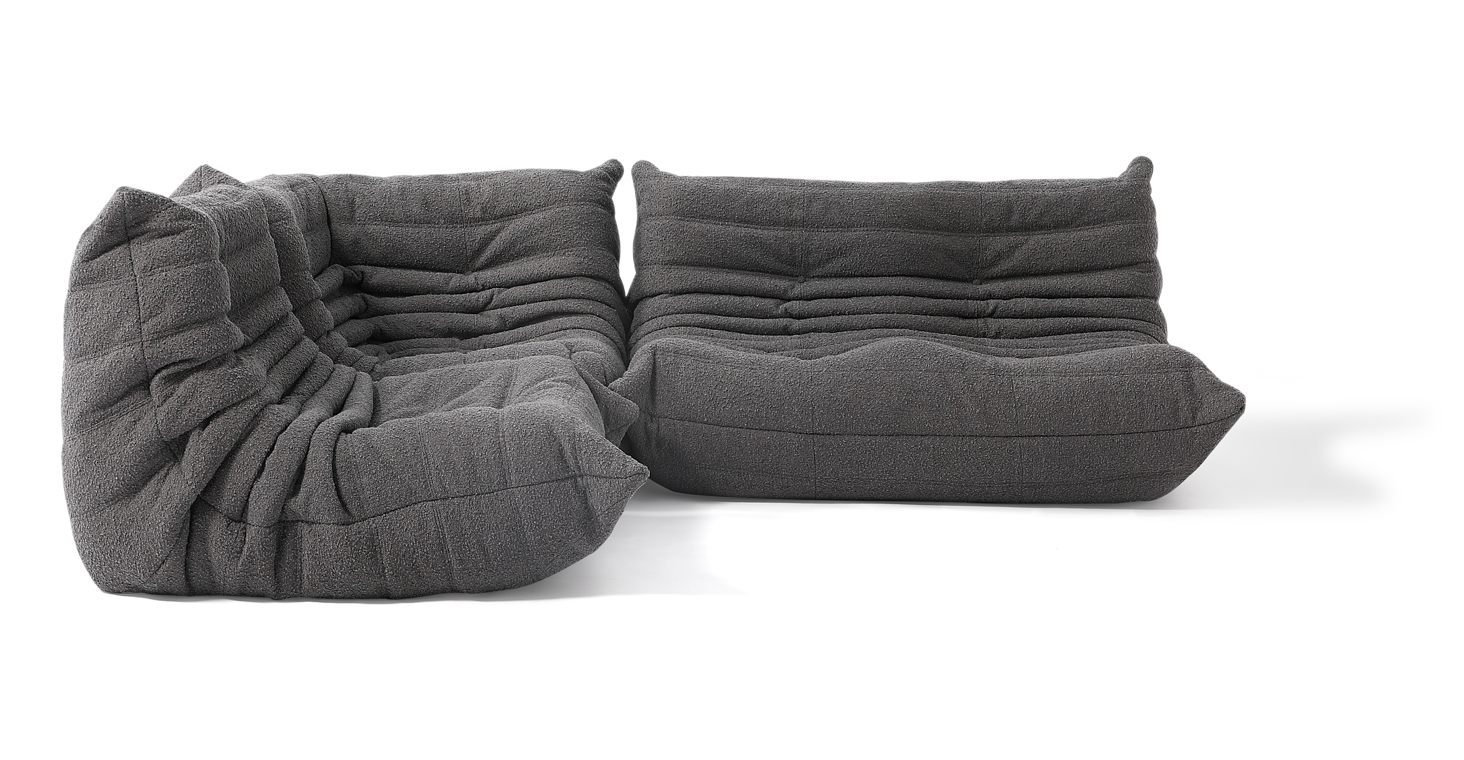 """Louvre Modular 75"""" Nikki 3-pc Fabric Sofa, Gris Boucle"""