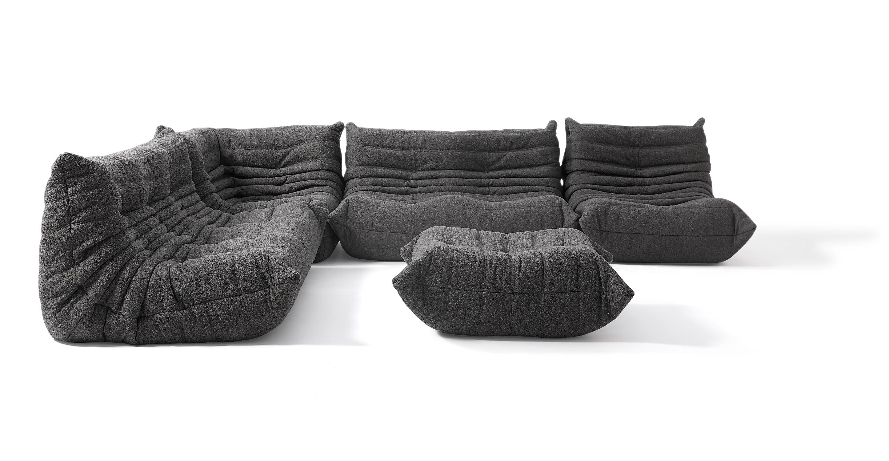"""Louvre Modular 128"""" Amour 5-pc Fabric Sofa, Gris Boucle"""