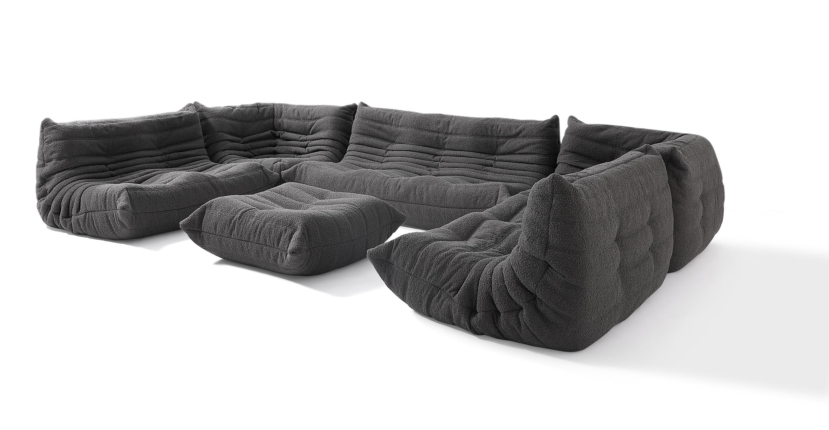 "Louvre Modular 150"" Vinci 6-pc Fabric Sofa, Gris Boucle"