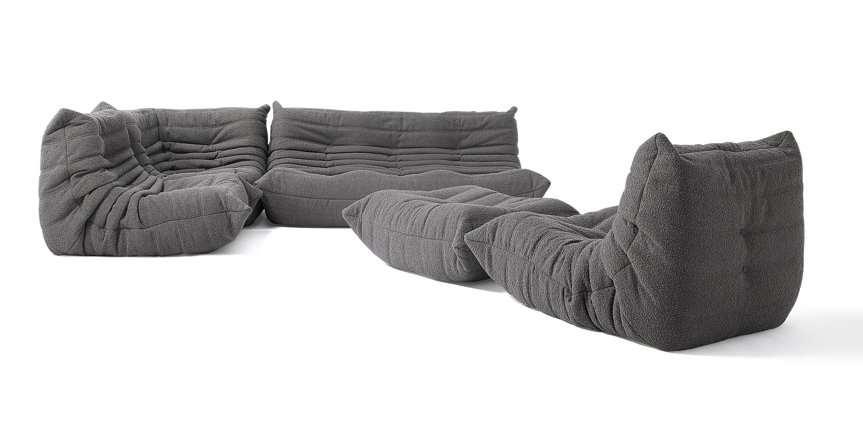 "Louvre Modular 110"" Milo 5-pc Fabric Sofa, Gris Boucle"