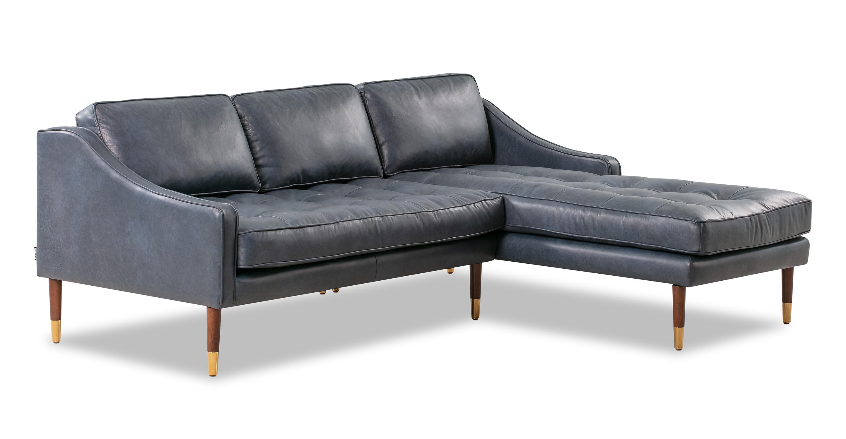"Brando 83"" Leather Sofa Sectional Right, Napoli Blue"