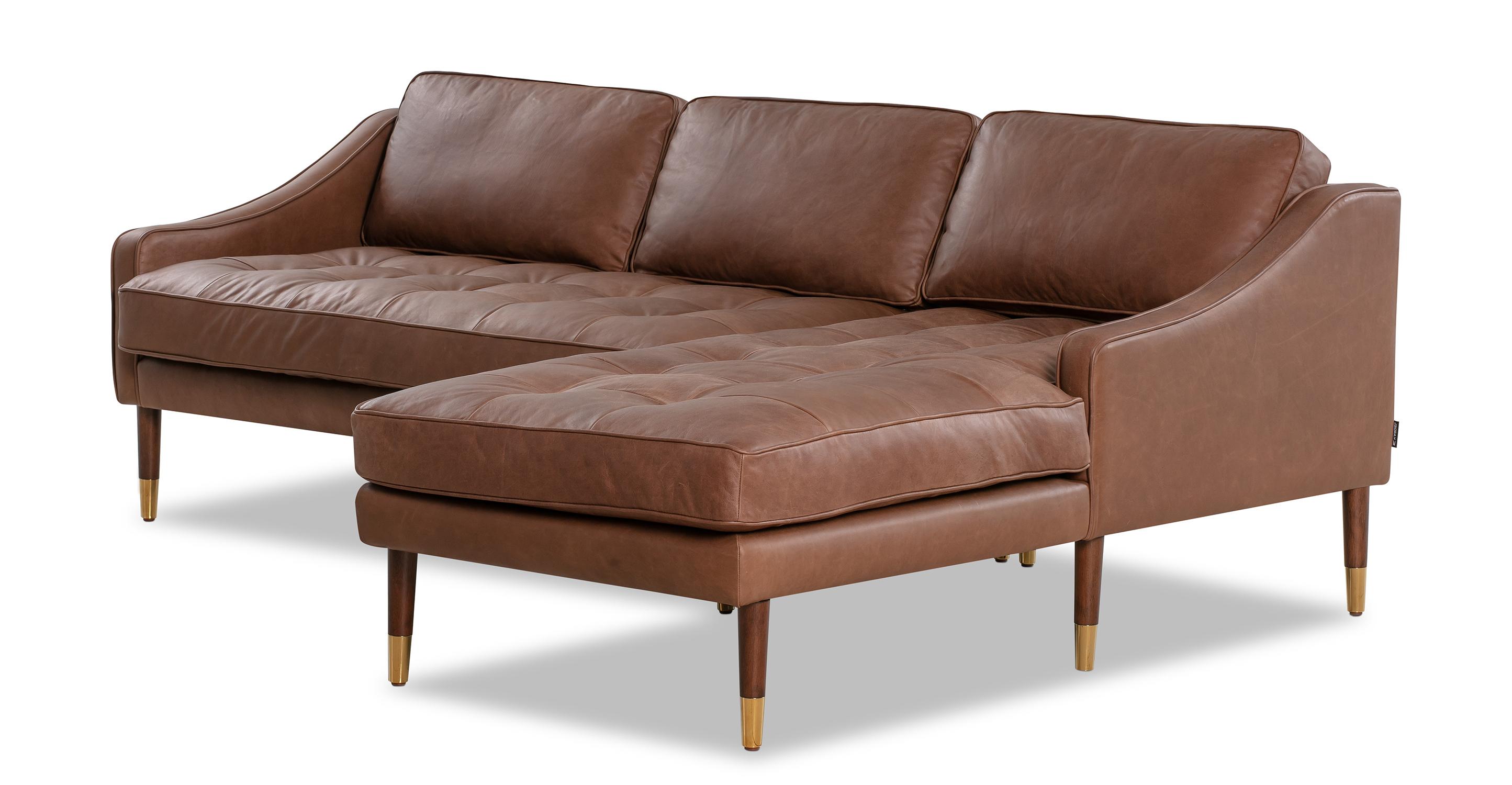 "Brando 83"" Leather Sofa Sectional Right, Milano Mocha"