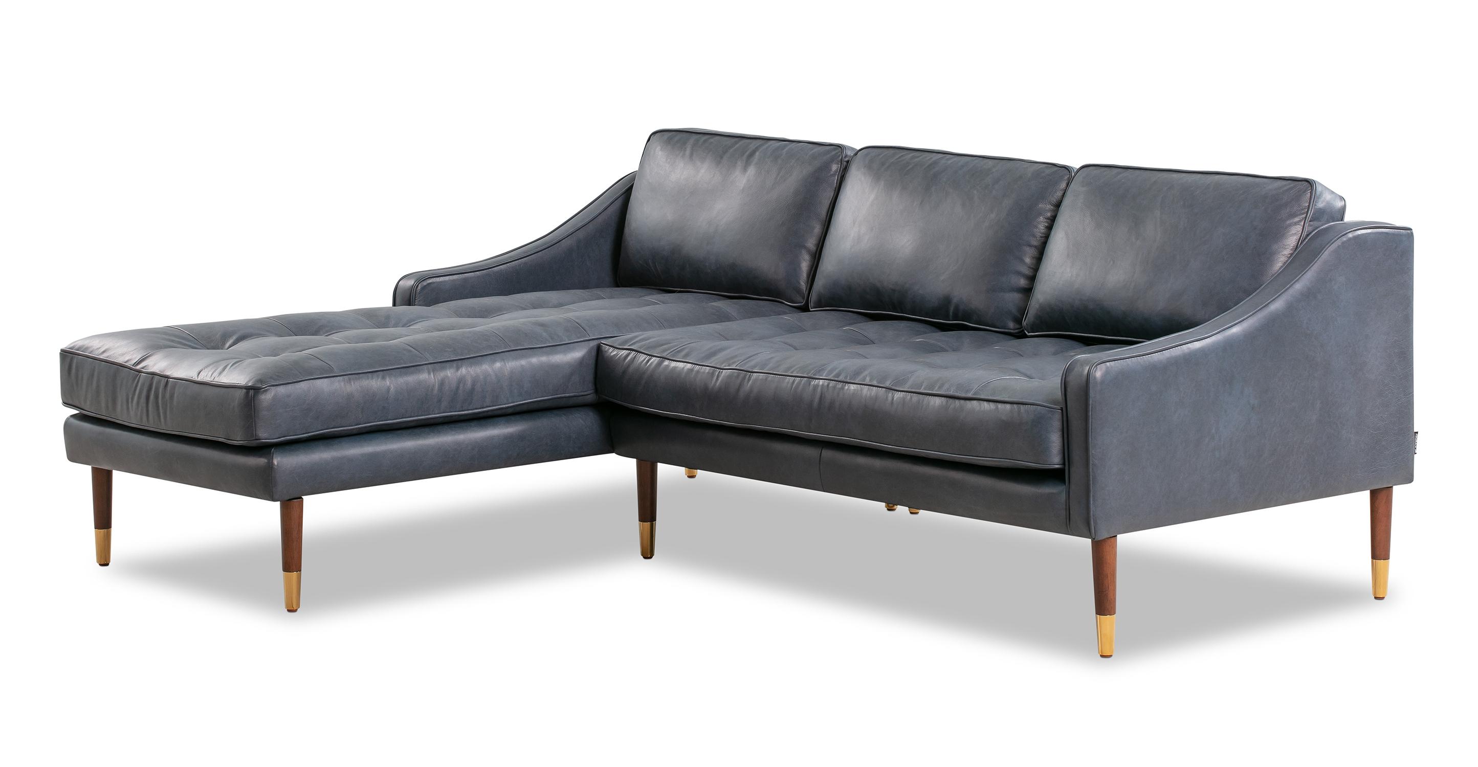 "Brando 83"" Leather Sofa Sectional Left, Napoli Blue"