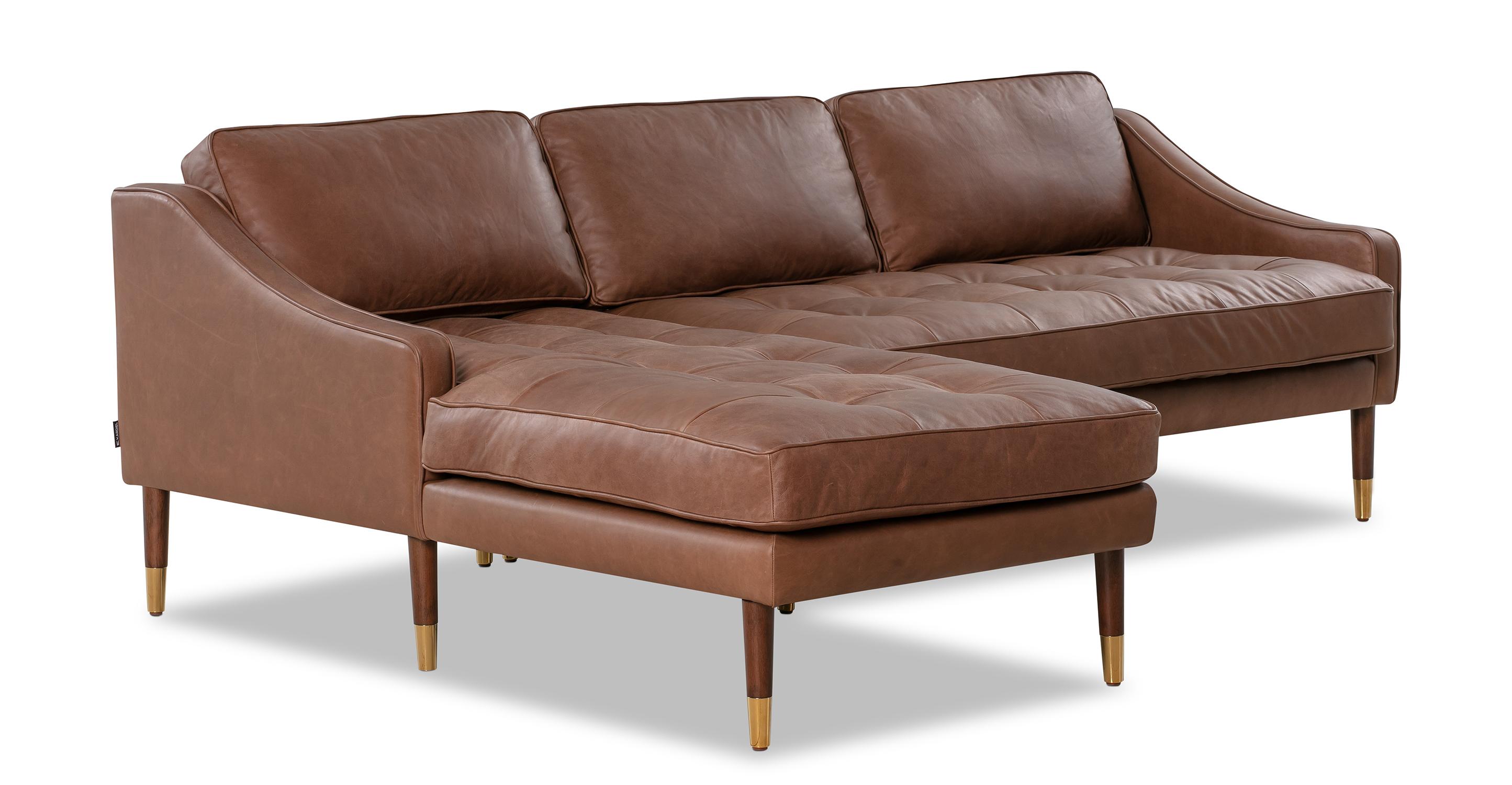 "Brando 83"" Leather Sofa Sectional Left, Milano Mocha"