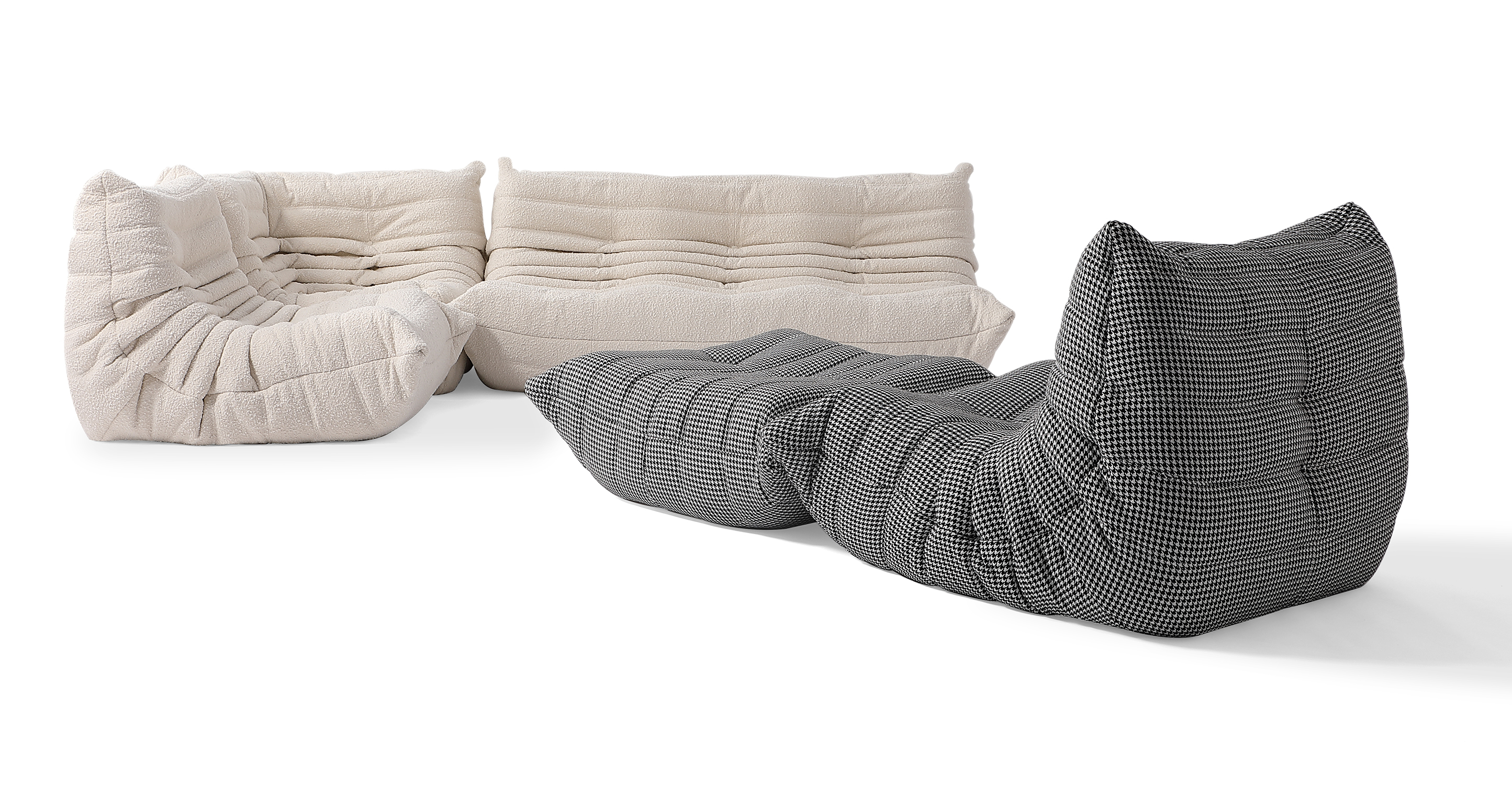 "Louvre Modular 110"" Milo 5-pc Fabric Sofa,Blanc & Houndstooth"