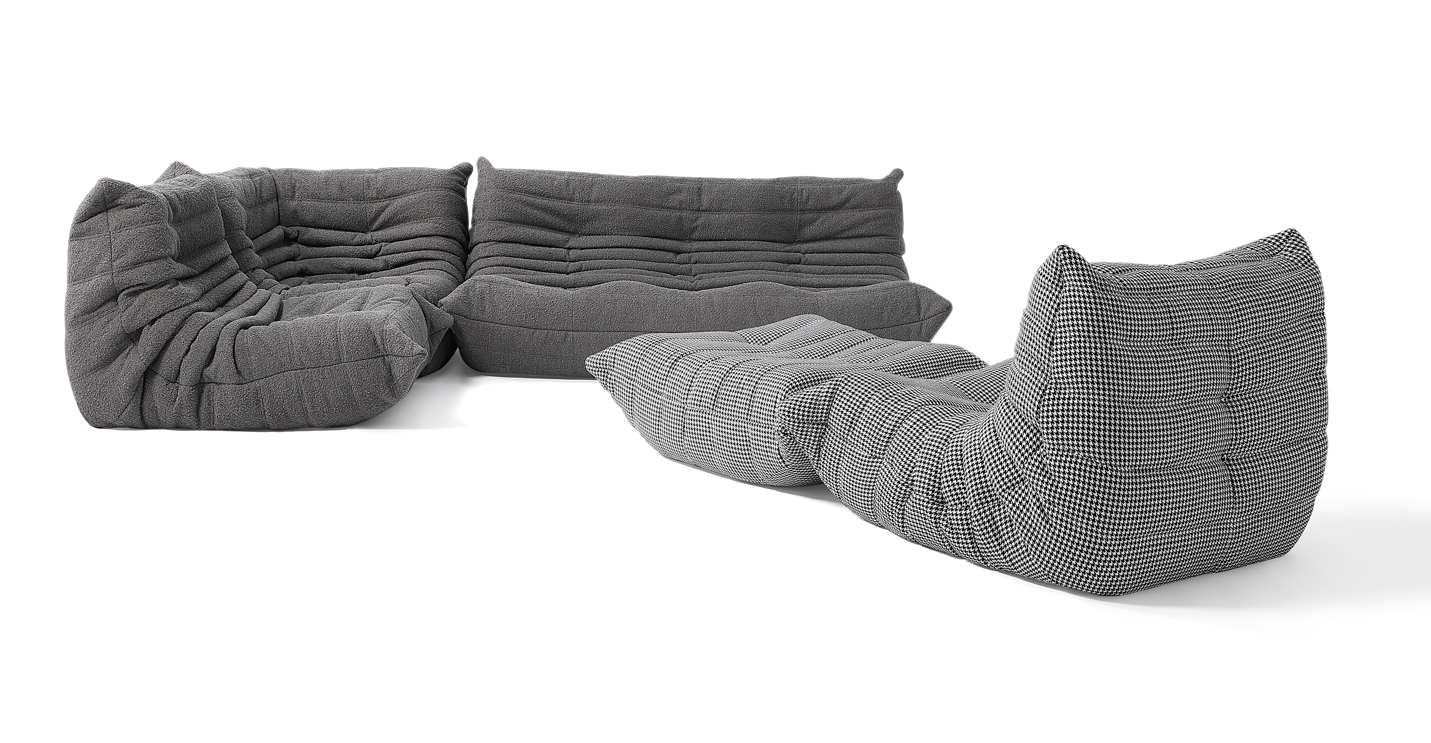 "Louvre Modular 110"" Milo 5-pc Fabric Sofa,Gris & Houndstooth"