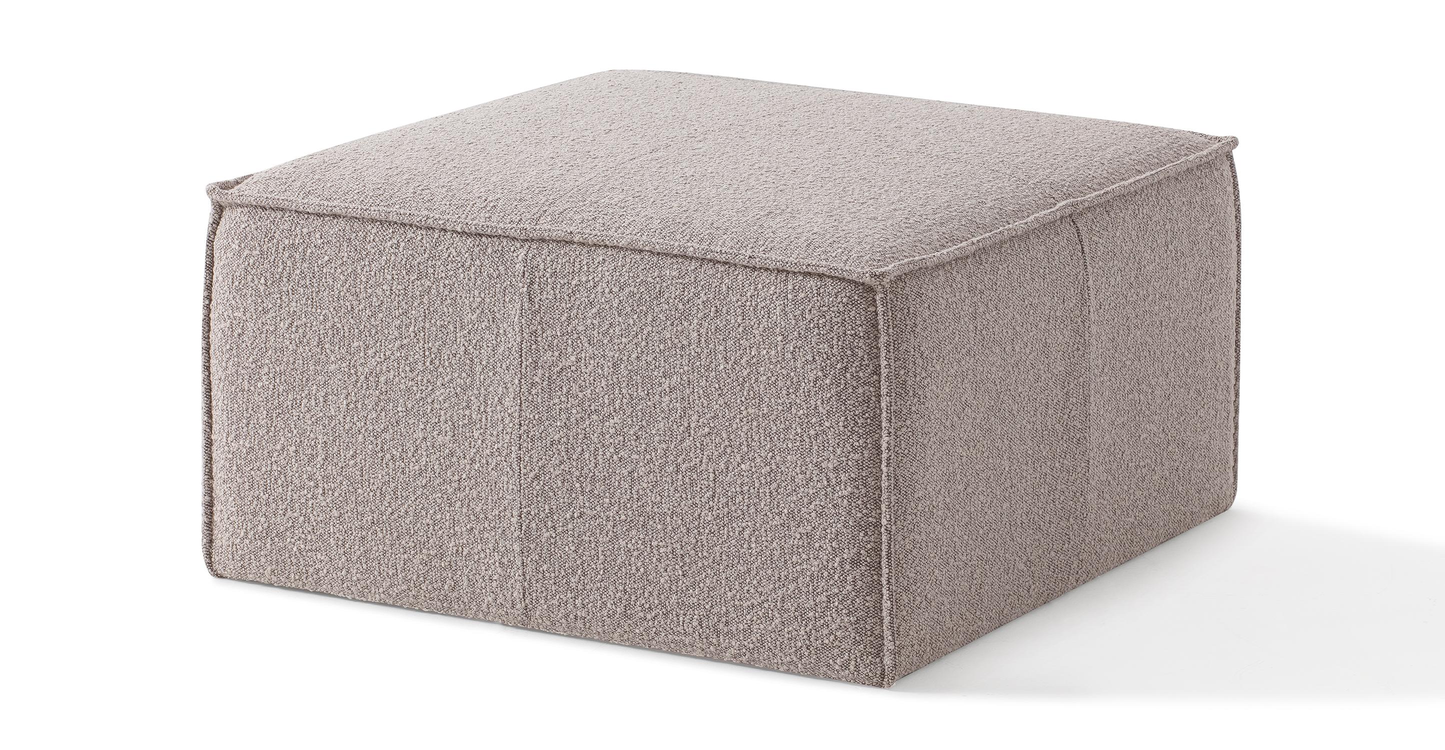 """Boxy 32"""" Fabric Ottoman, Bocce Boucle"""