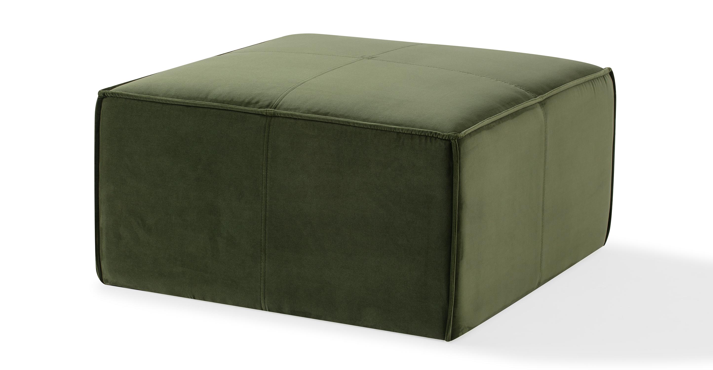 "Boxy 32"" Fabric Ottoman, Fern Velvet"