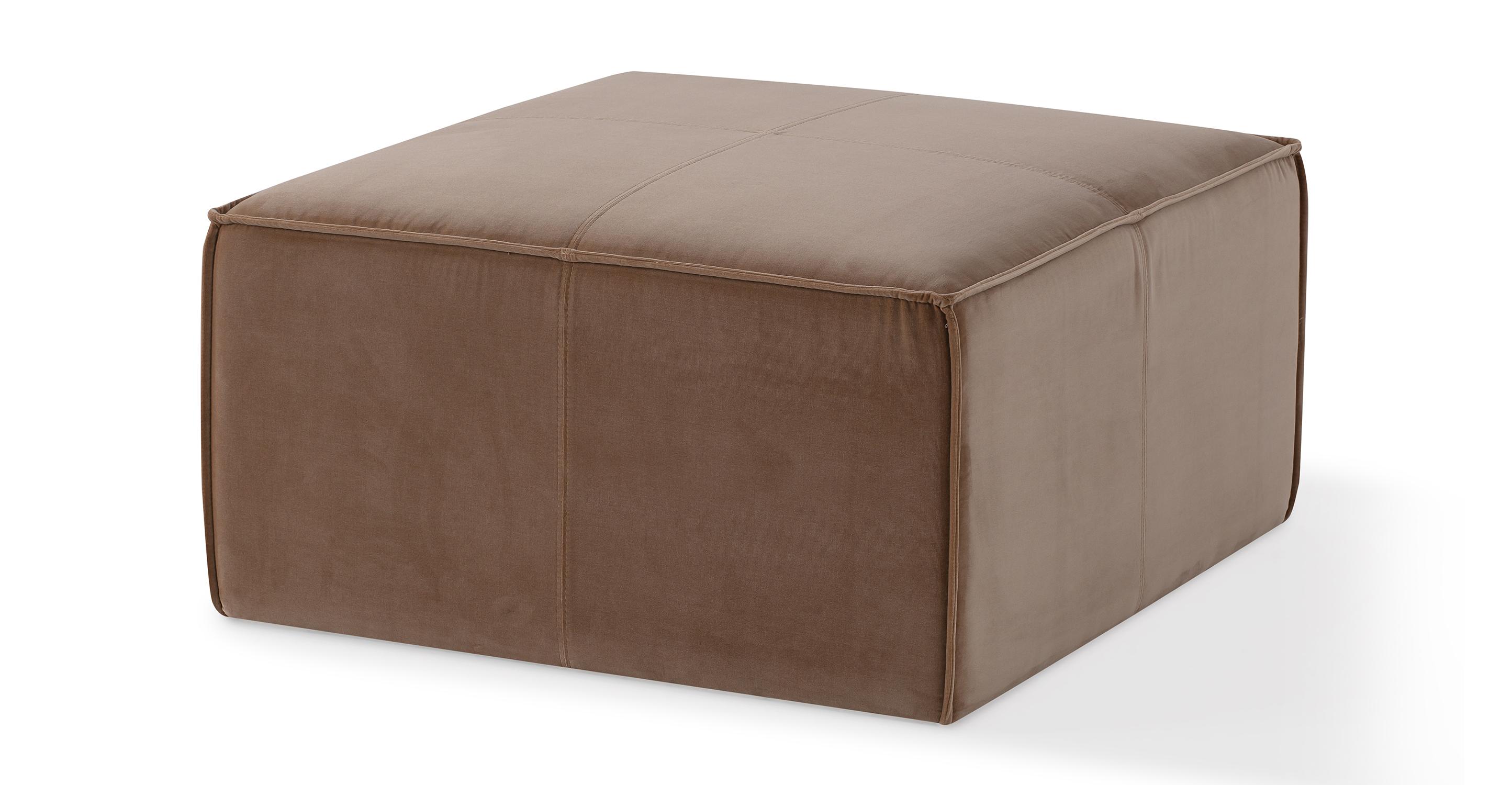 "Boxy 32"" Fabric Ottoman, Sand Velvet"