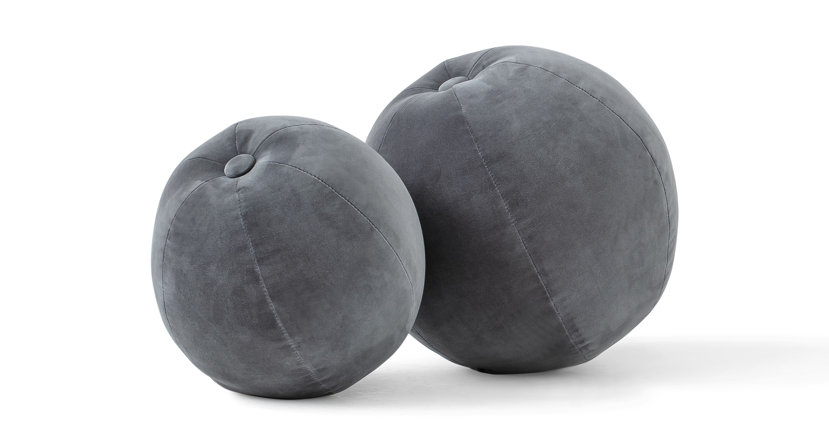 Mid-Century 2-Pc Orb Pillows, Fossil Velvet
