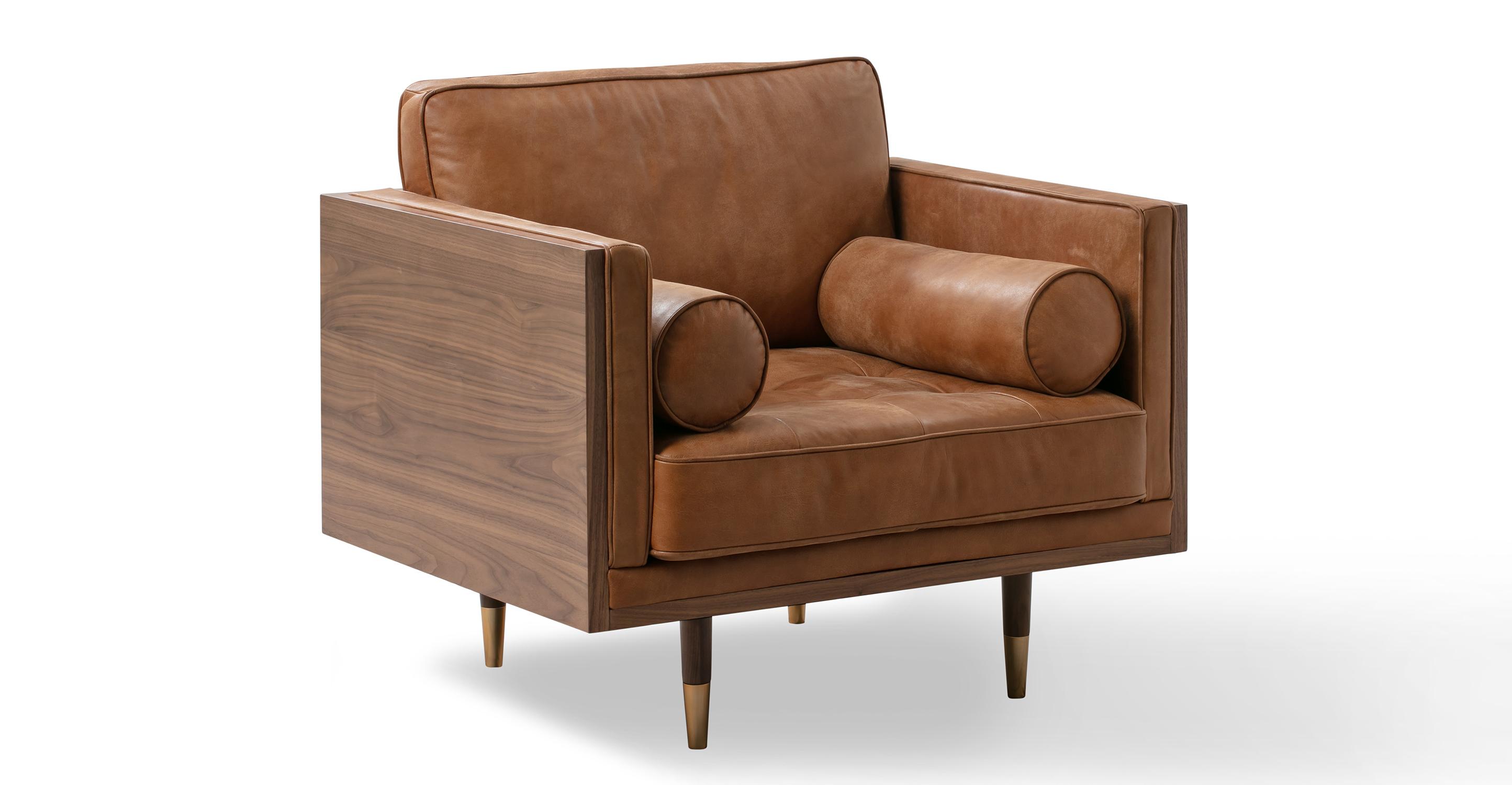 "Woodrow Skandi 39"" Leather Chair, Walnut/Cognac"