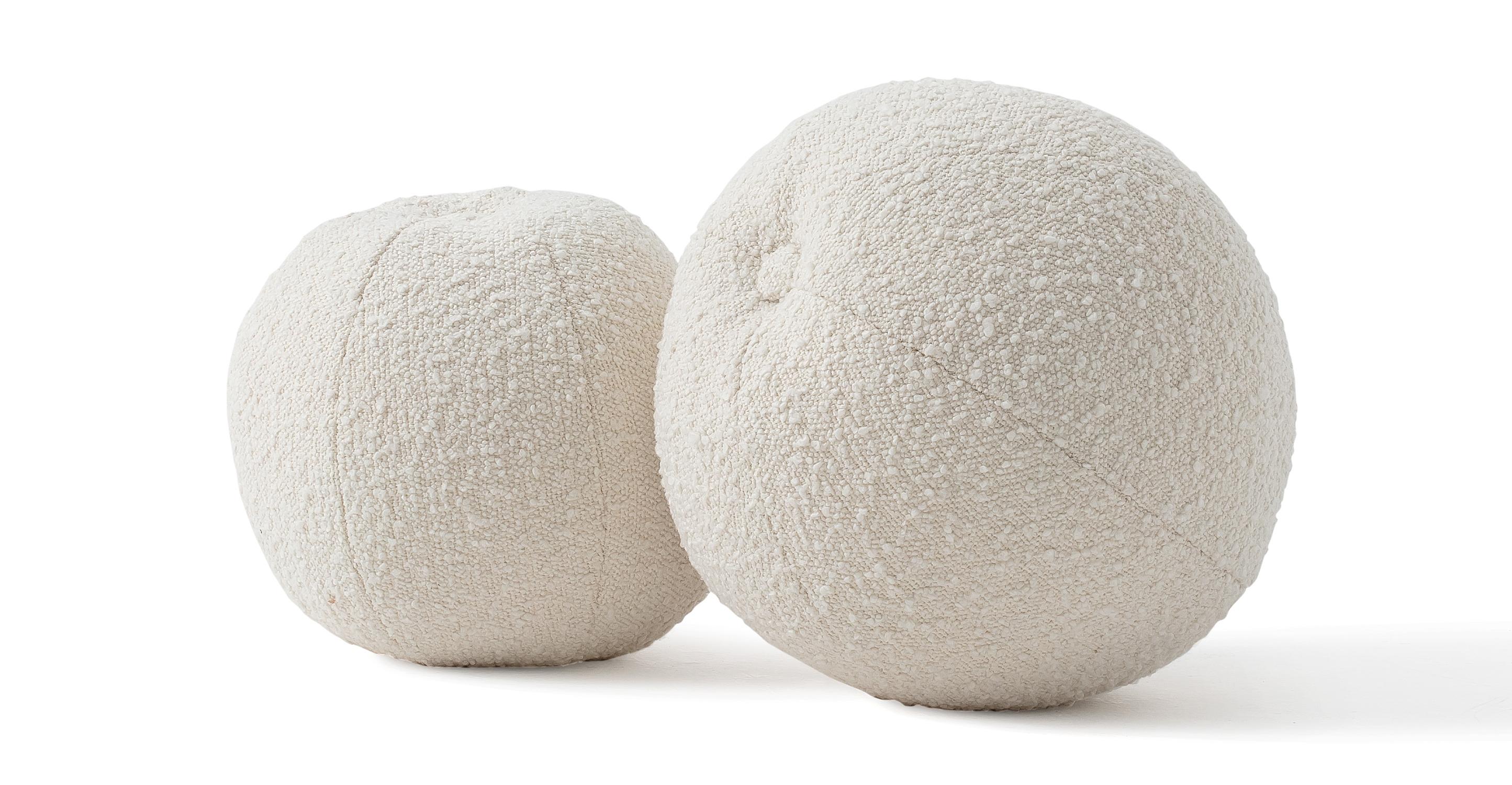 Mid-Century 2-Pc Orb Pillows, Blanc Boucle