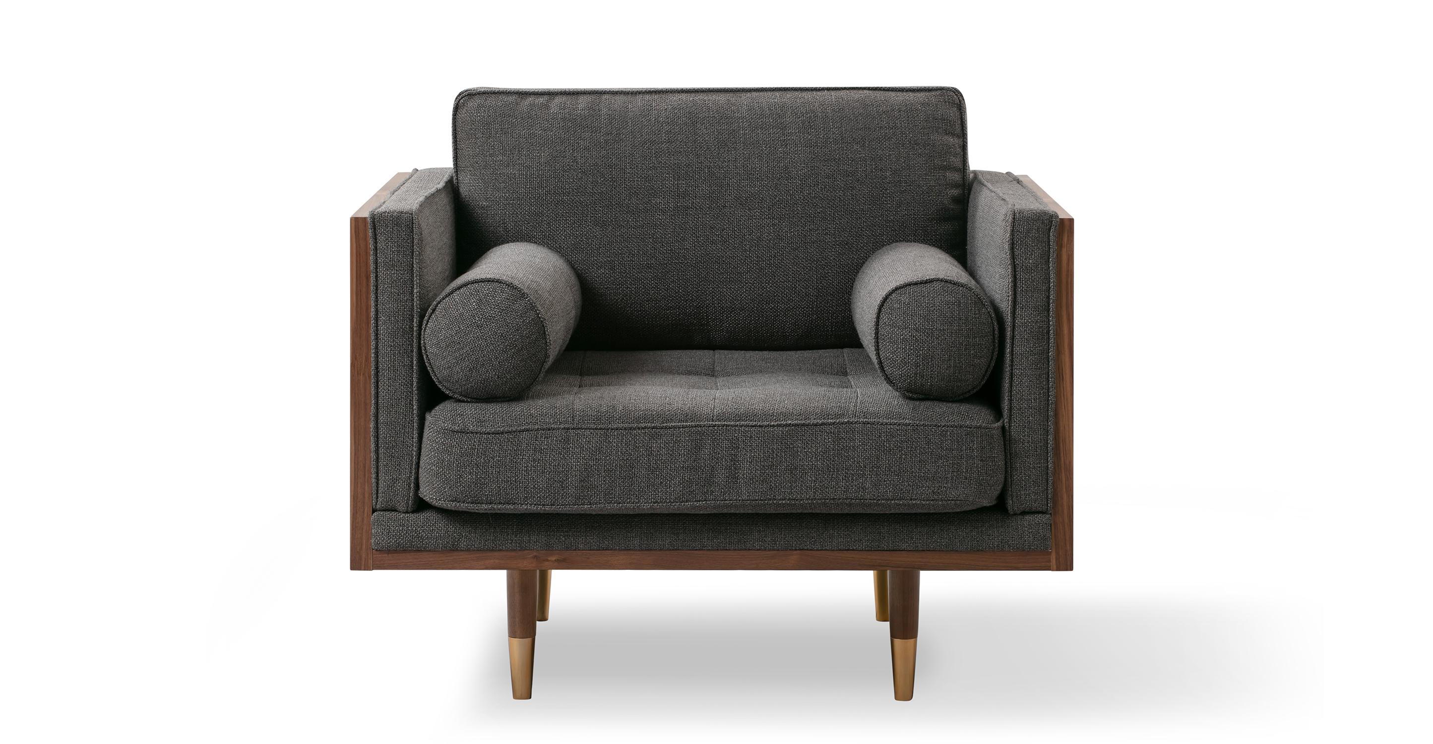 """Woodrow Skandi 39"""" Fabric Chair, Walnut/Dior Grey"""