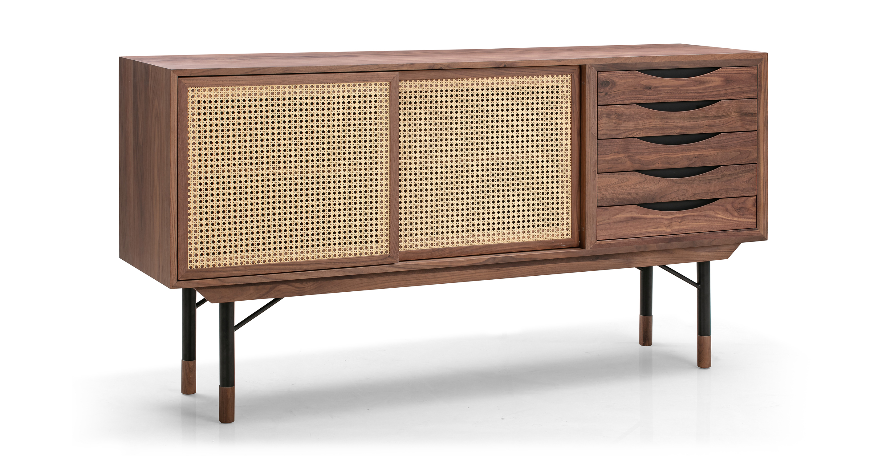 "Color Theory 69"" Sideboard, Walnut/Rattan"