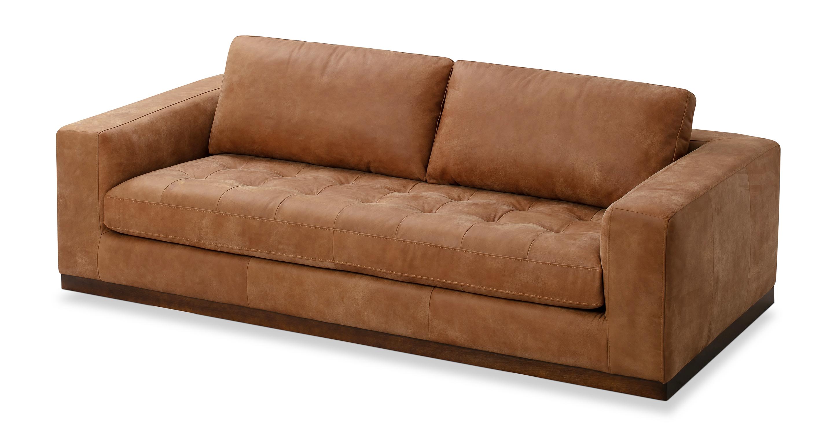"Newport 91"" Leather Sofa, Cognac"
