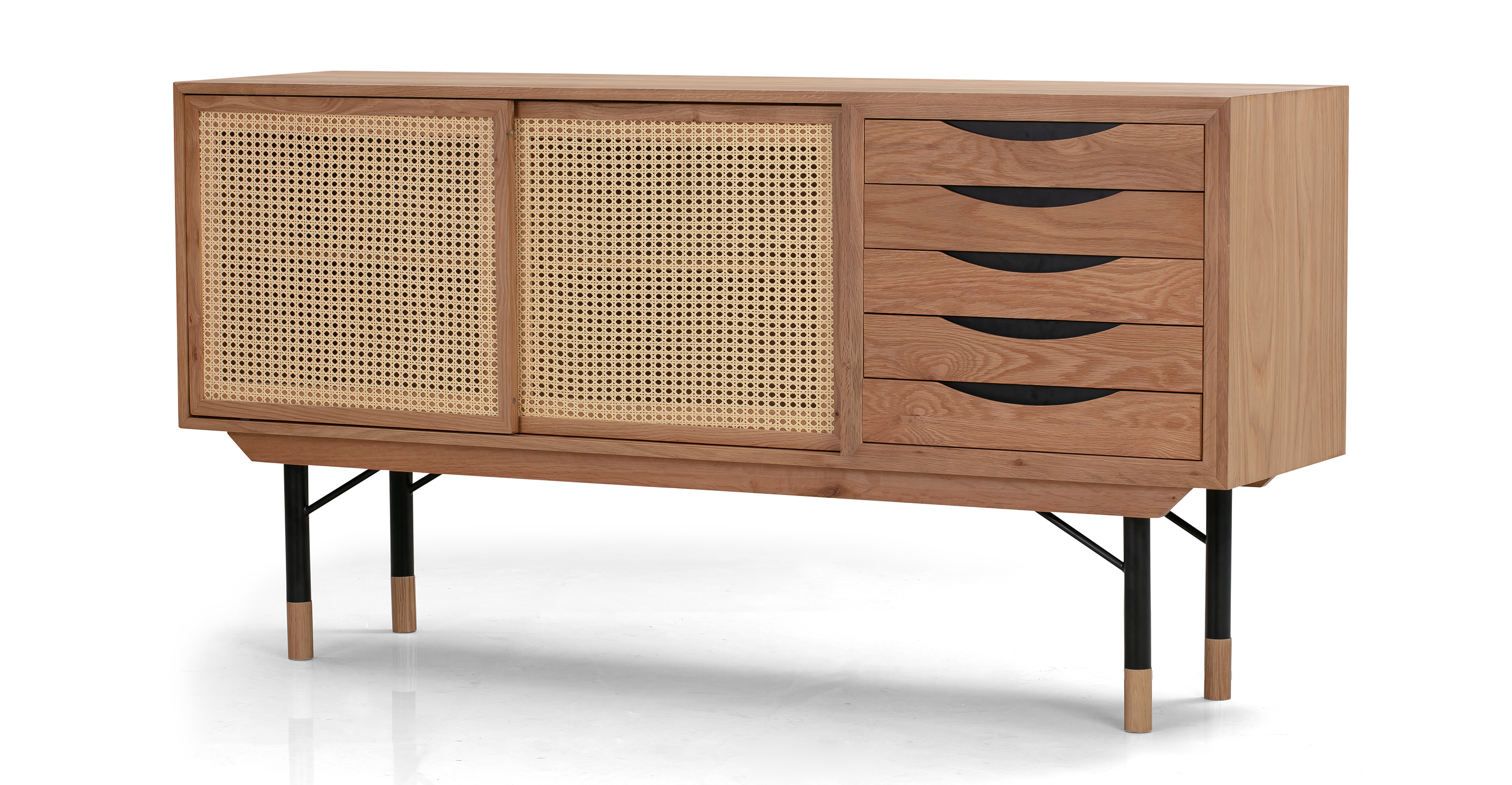"""Color Theory 69"""" Sideboard, Natural/Rattan"""