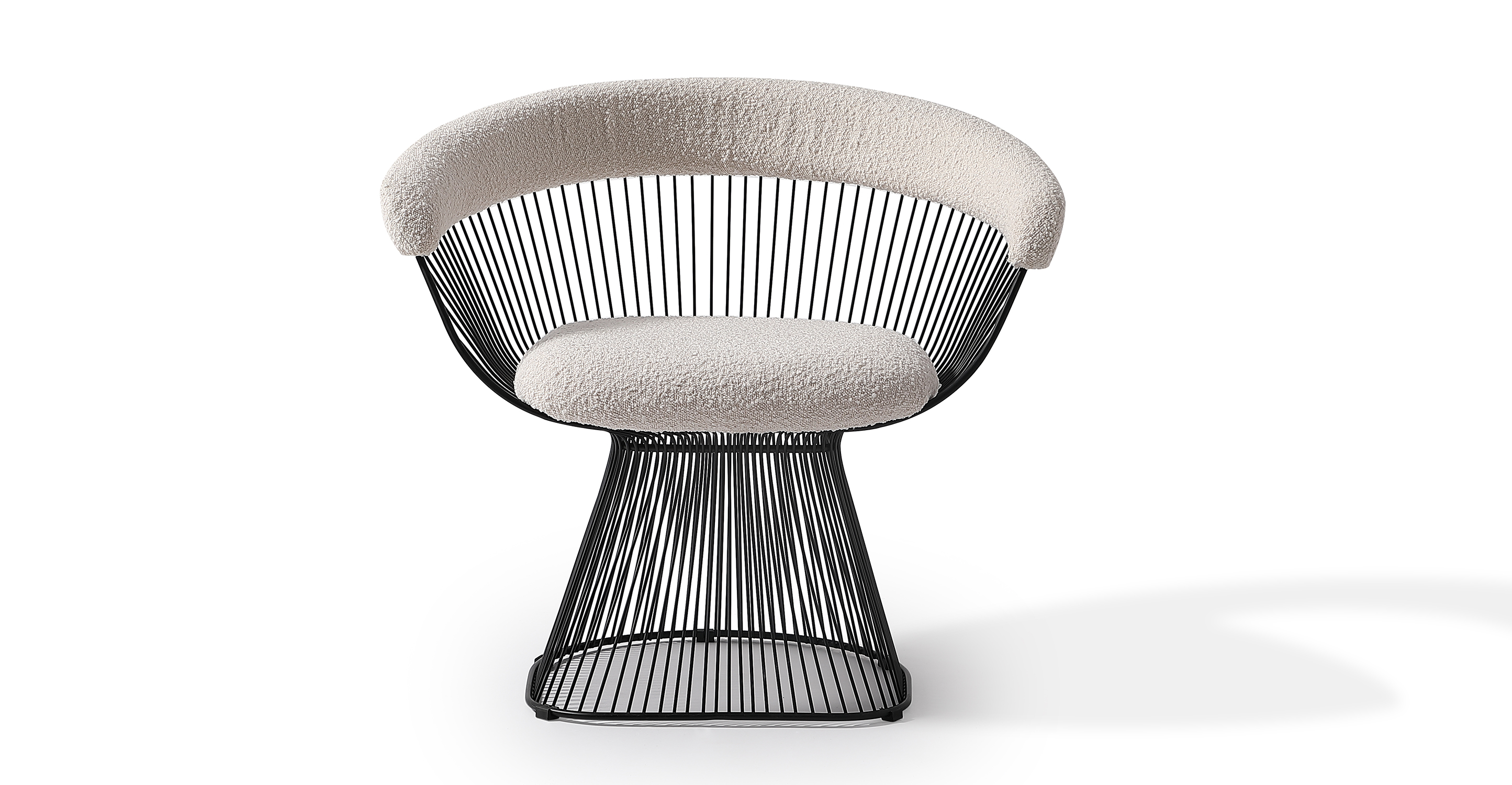 "Platner 30"" Fabric Dining Chair, Blanc Boucle"