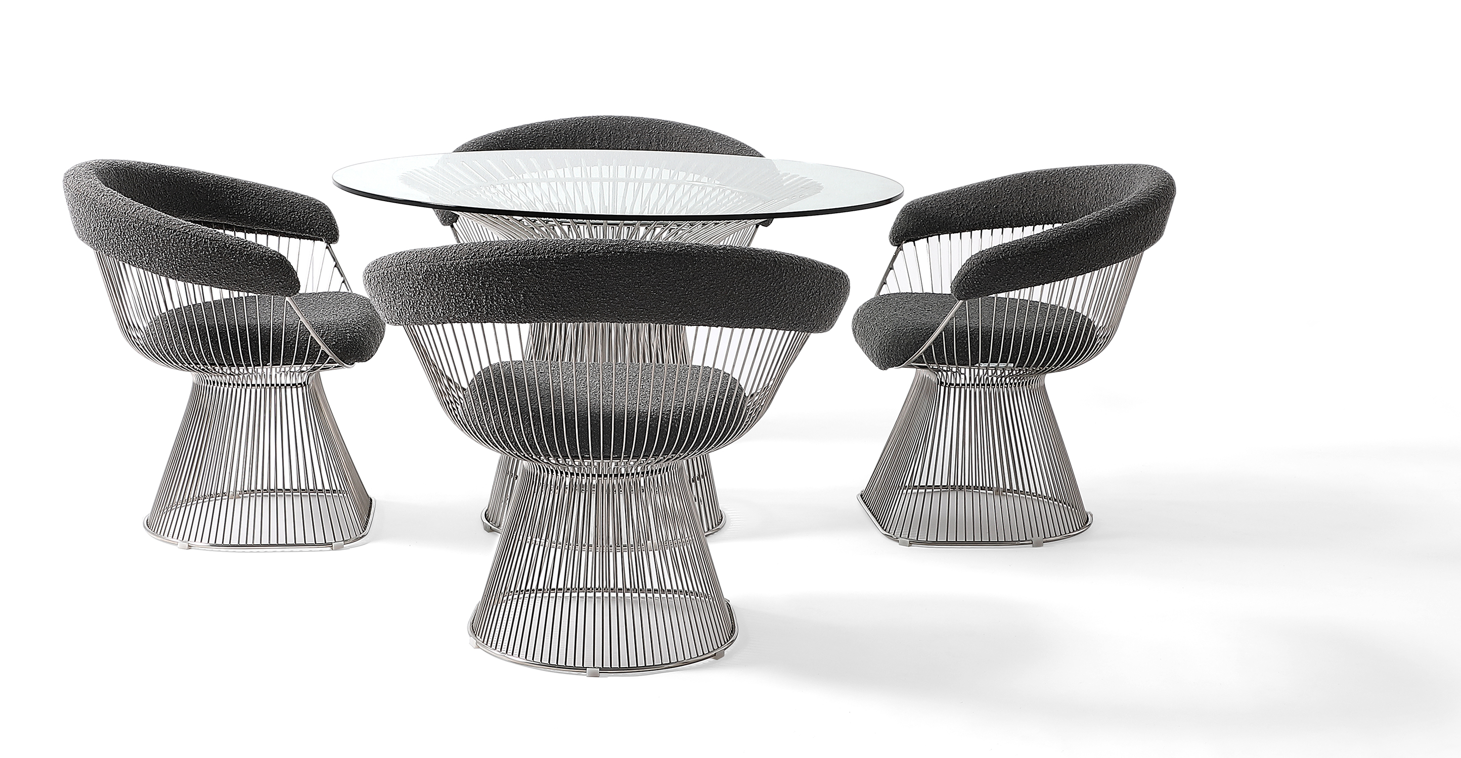 Platner 5-Pc Dining Set, Gris Boucle