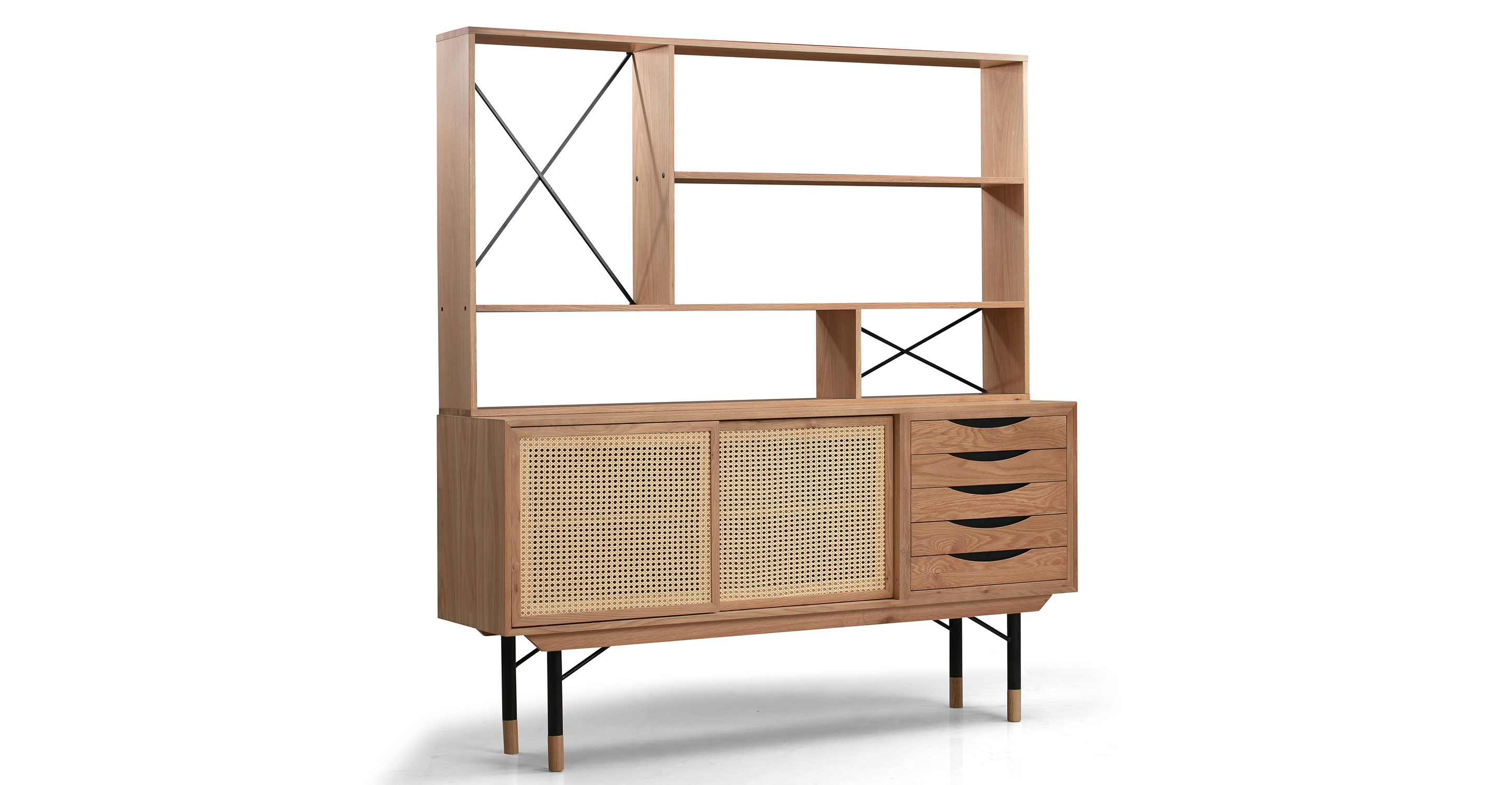 "Color Theory 69"" Hutch & Sideboard, Natural/Rattan"