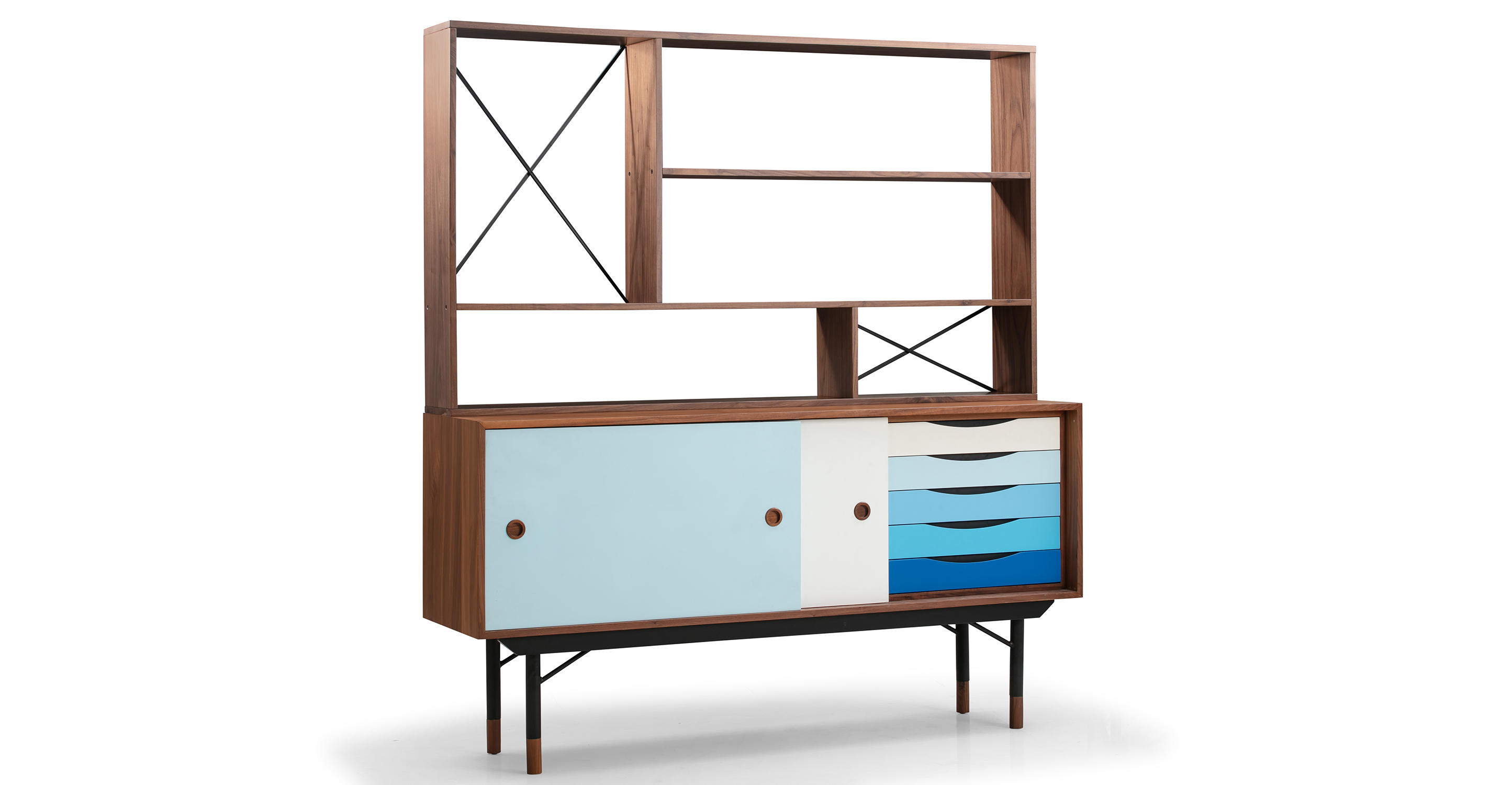 "Color Theory 69"" Hutch & Sideboard, Walnut/Blue"