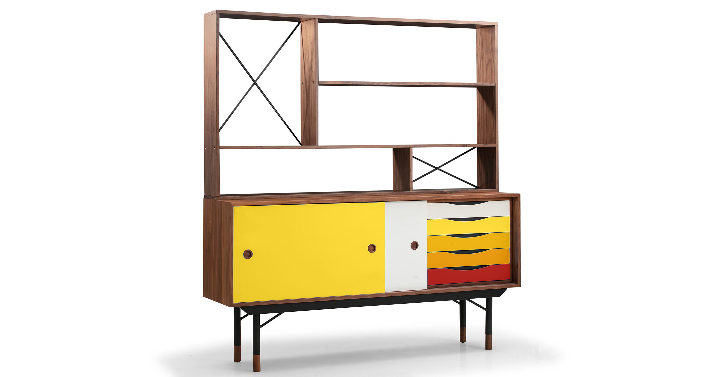 "Color Theory 69"" Hutch & Sideboard, Walnut/Yellow"