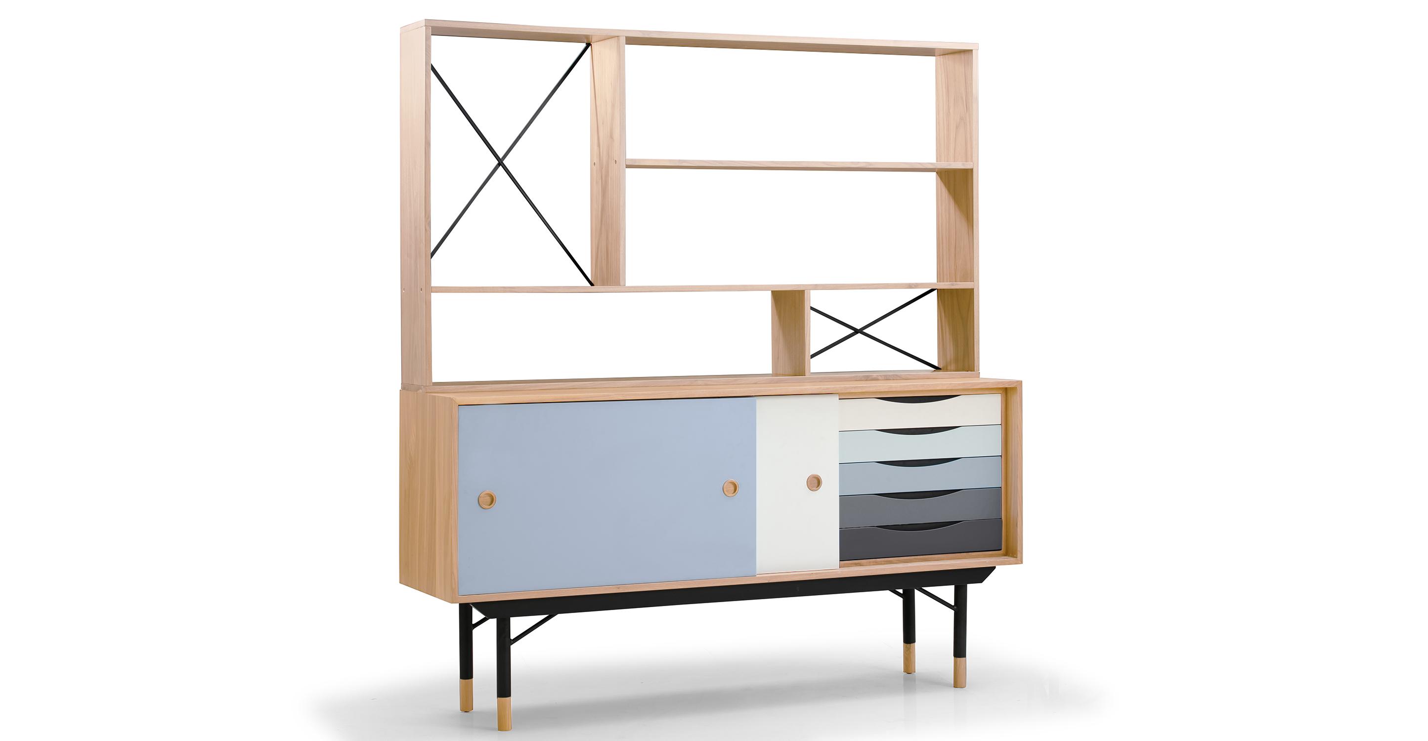 "Color Theory 69"" Hutch & Sideboard, Natural/Grey"