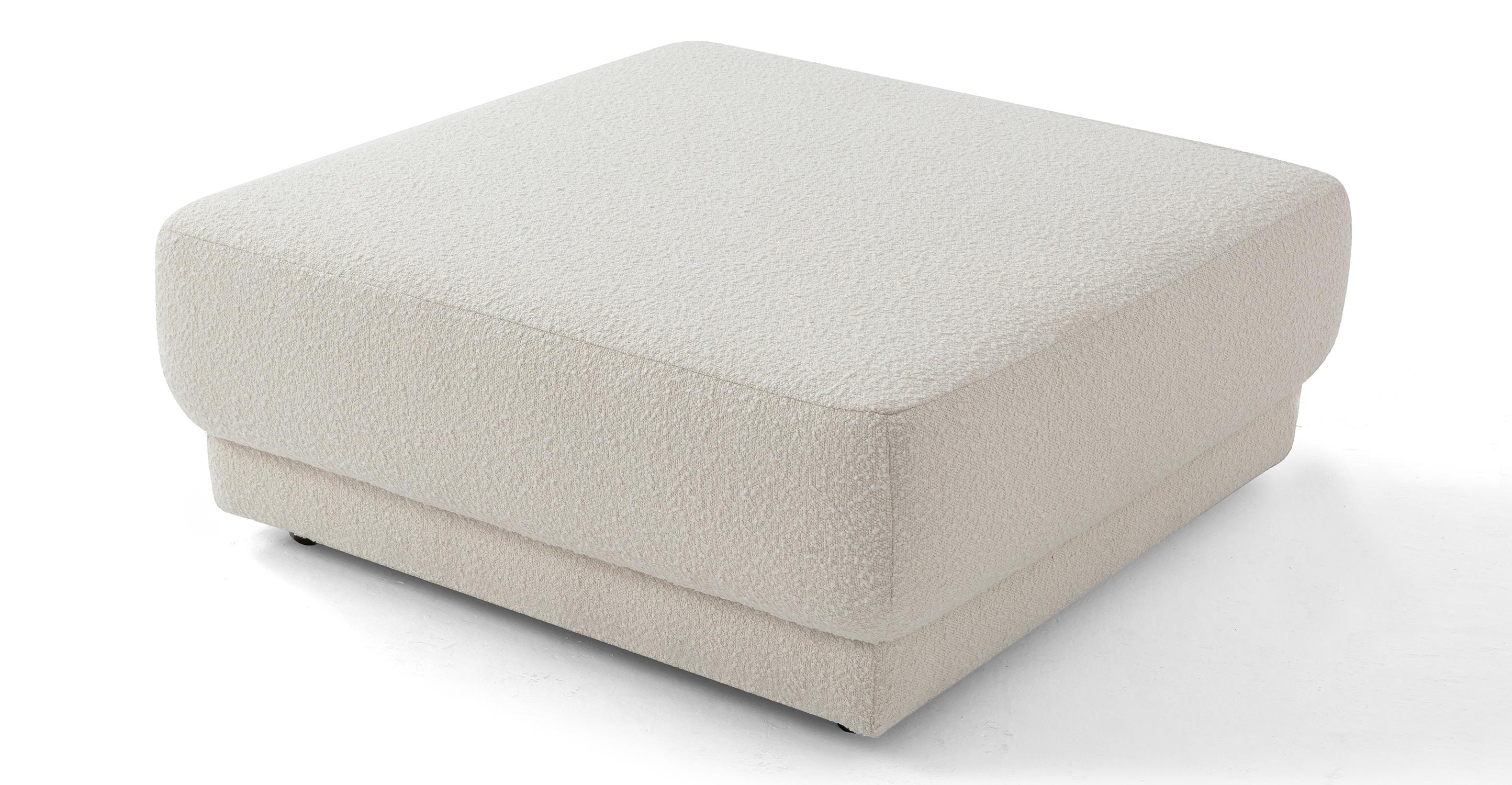 "Domus 38"" Fabric Ottoman, Blanc Boucle"