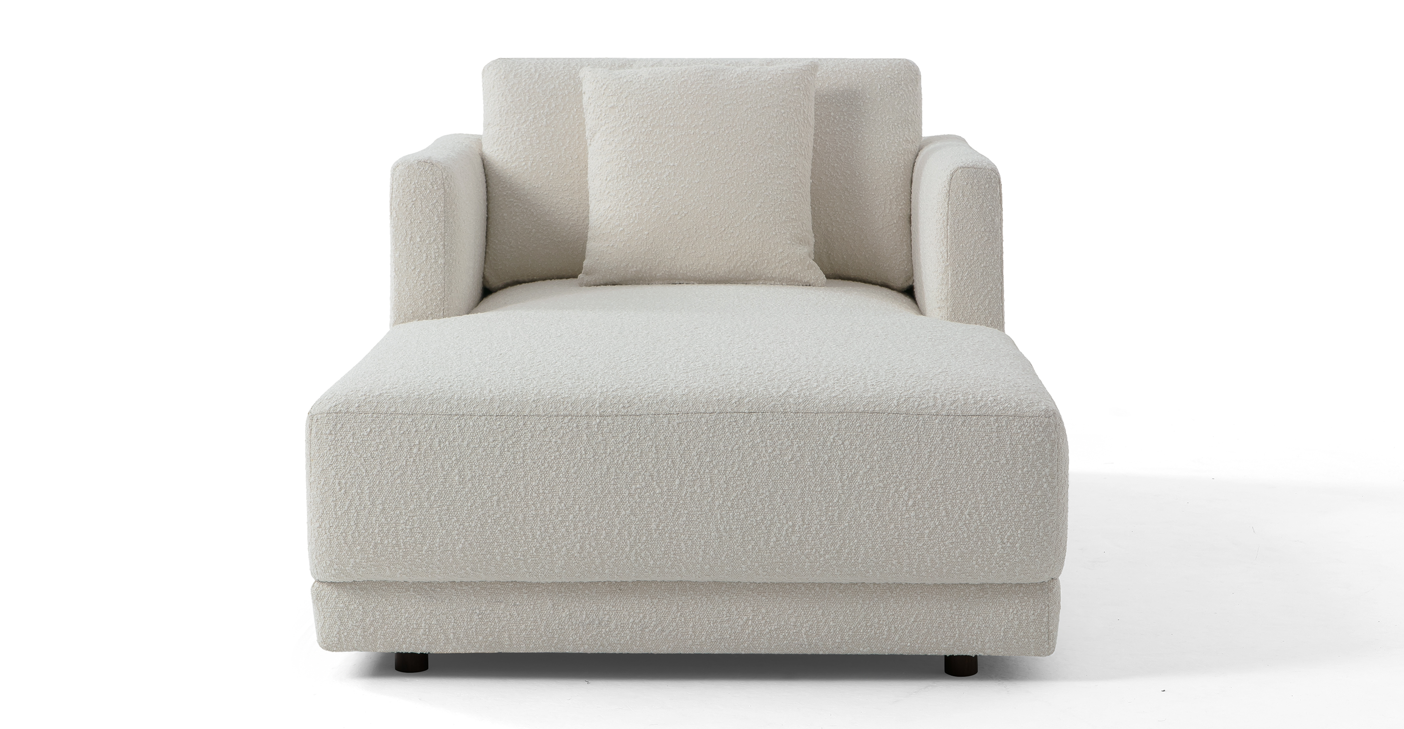 "Domus 39"" Fabric Chaise Lounge, Blanc Boucle"
