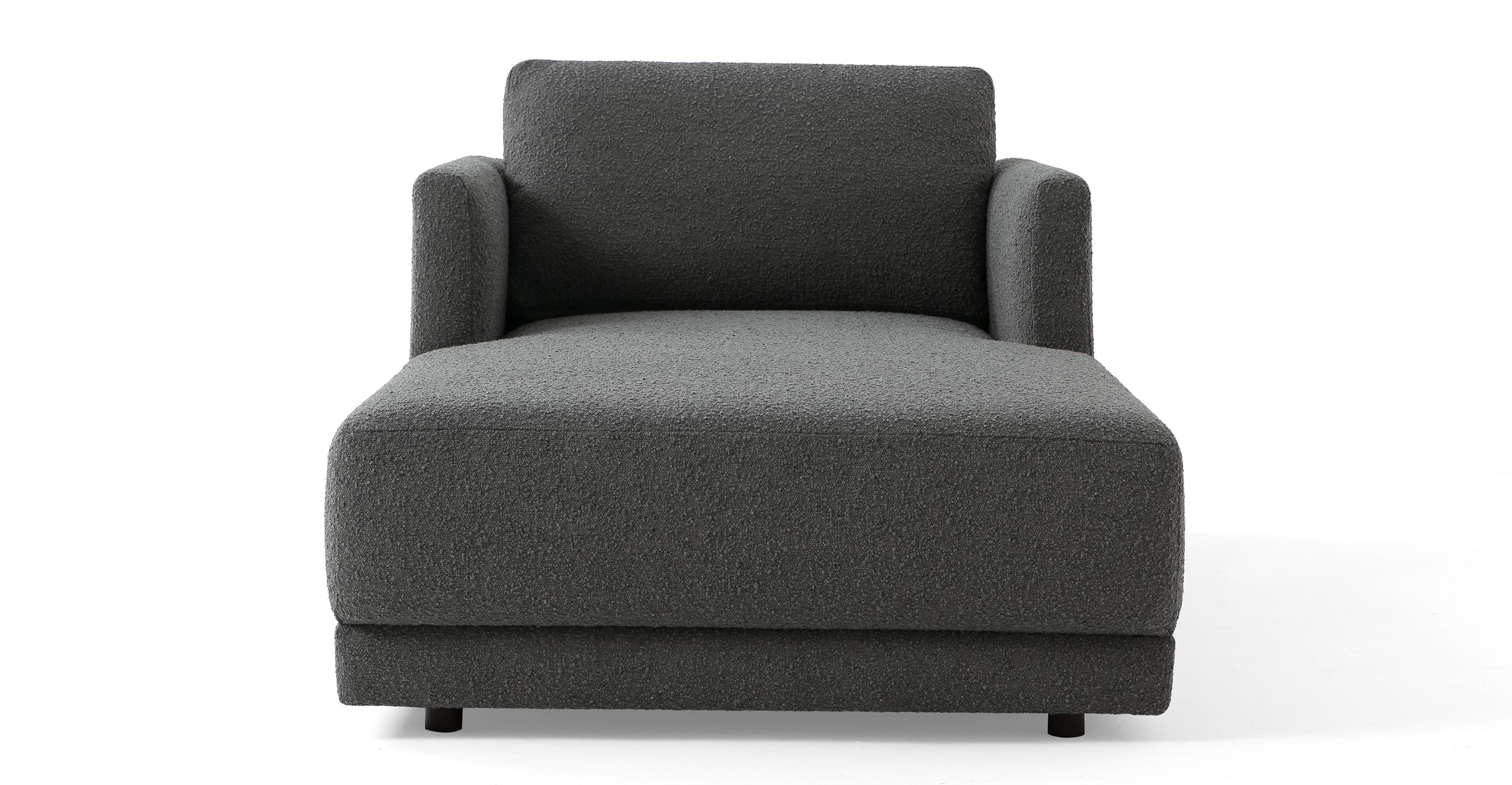 "Domus 39"" Fabric Chaise Lounge, Gris Boucle"