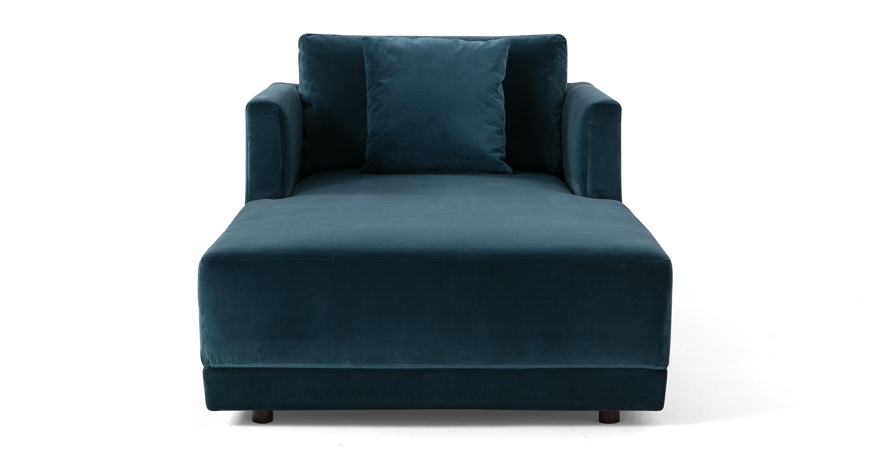 "Domus 39"" Fabric Chaise Lounge, Petrol Velvet"