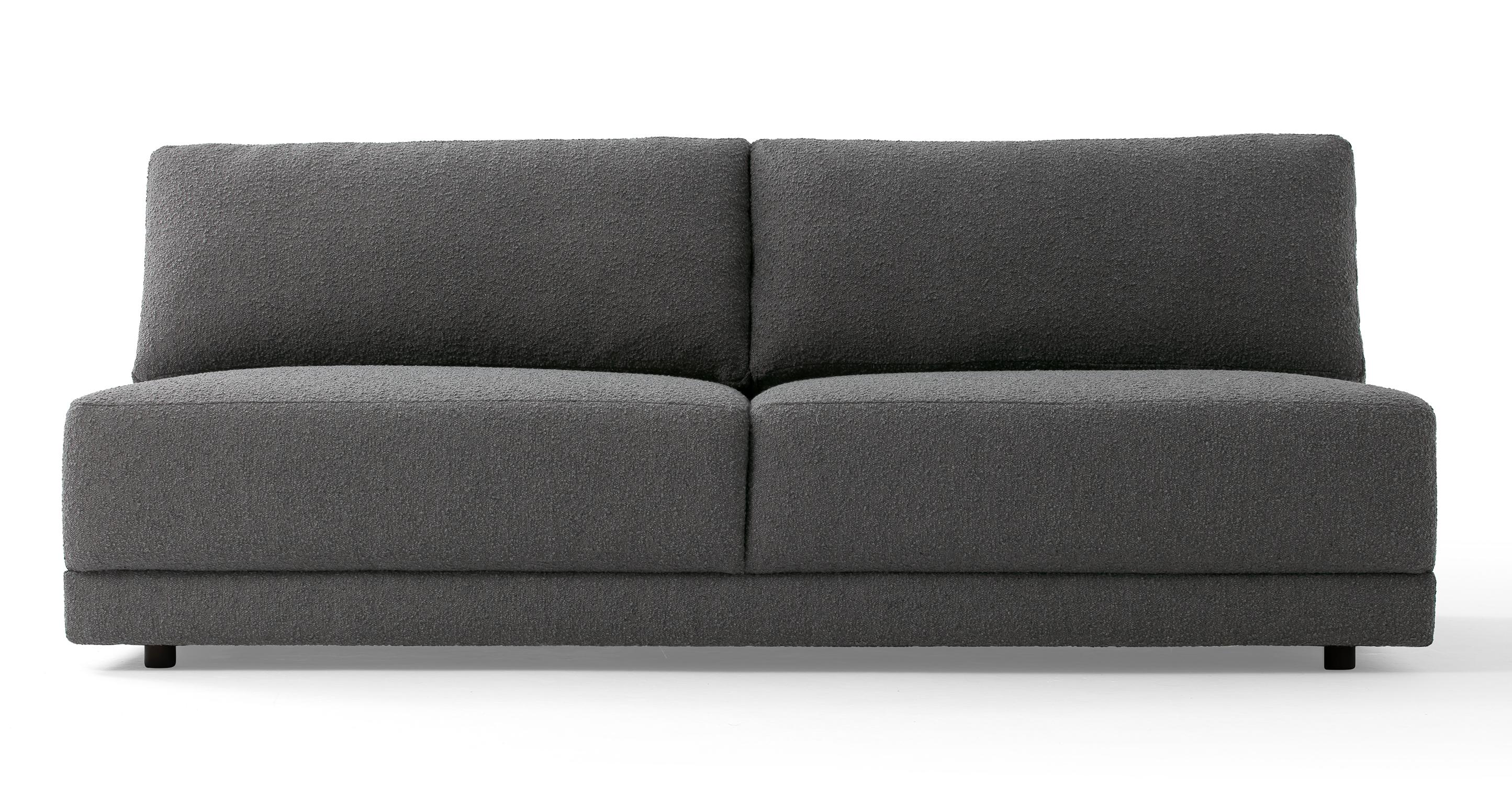 "Domus 77"" Fabric Armless Sofa, Gris Boucle"