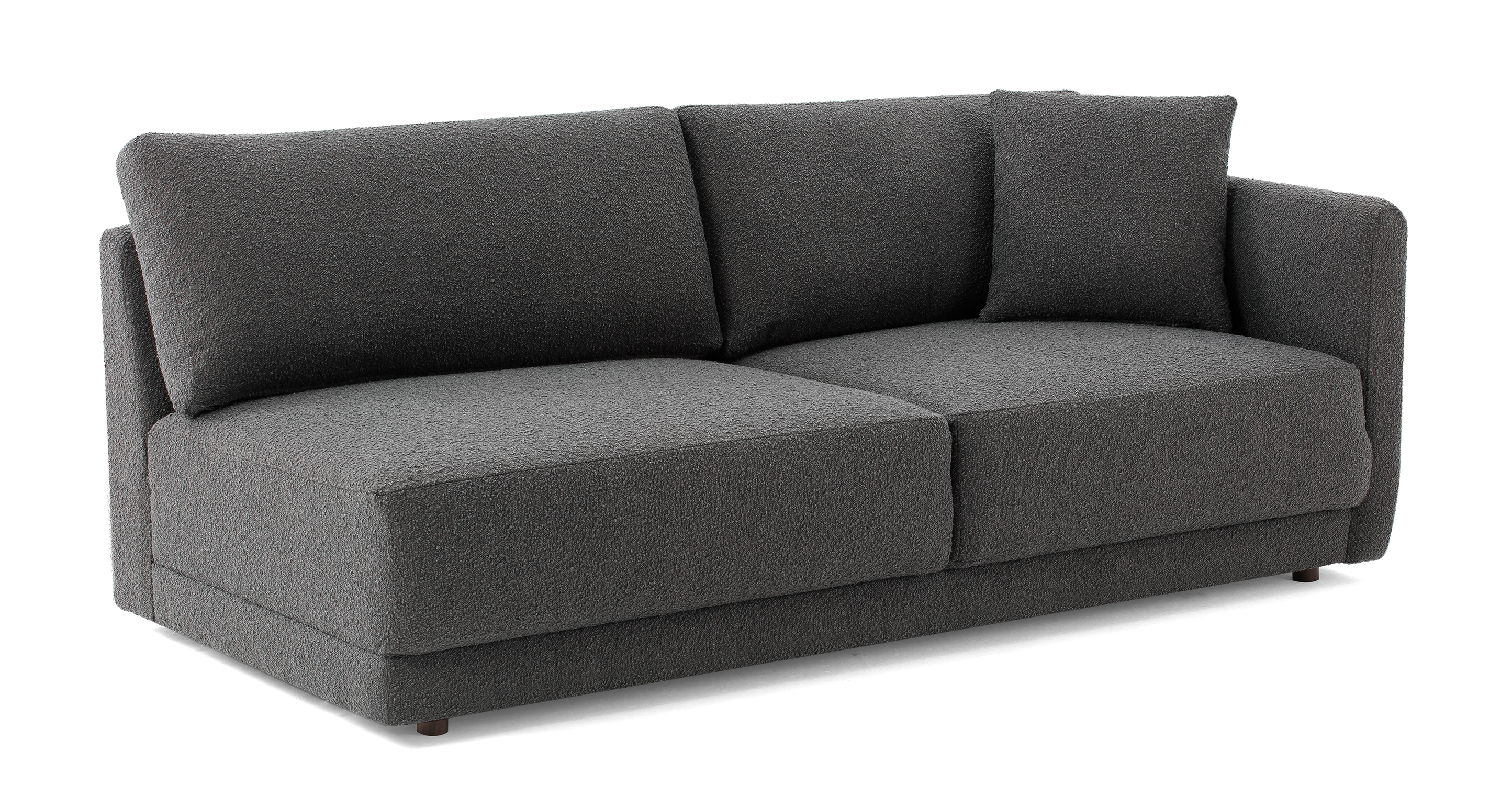 "Domus 77"" Right Arm Fabric Sofa, Gris Boucle"