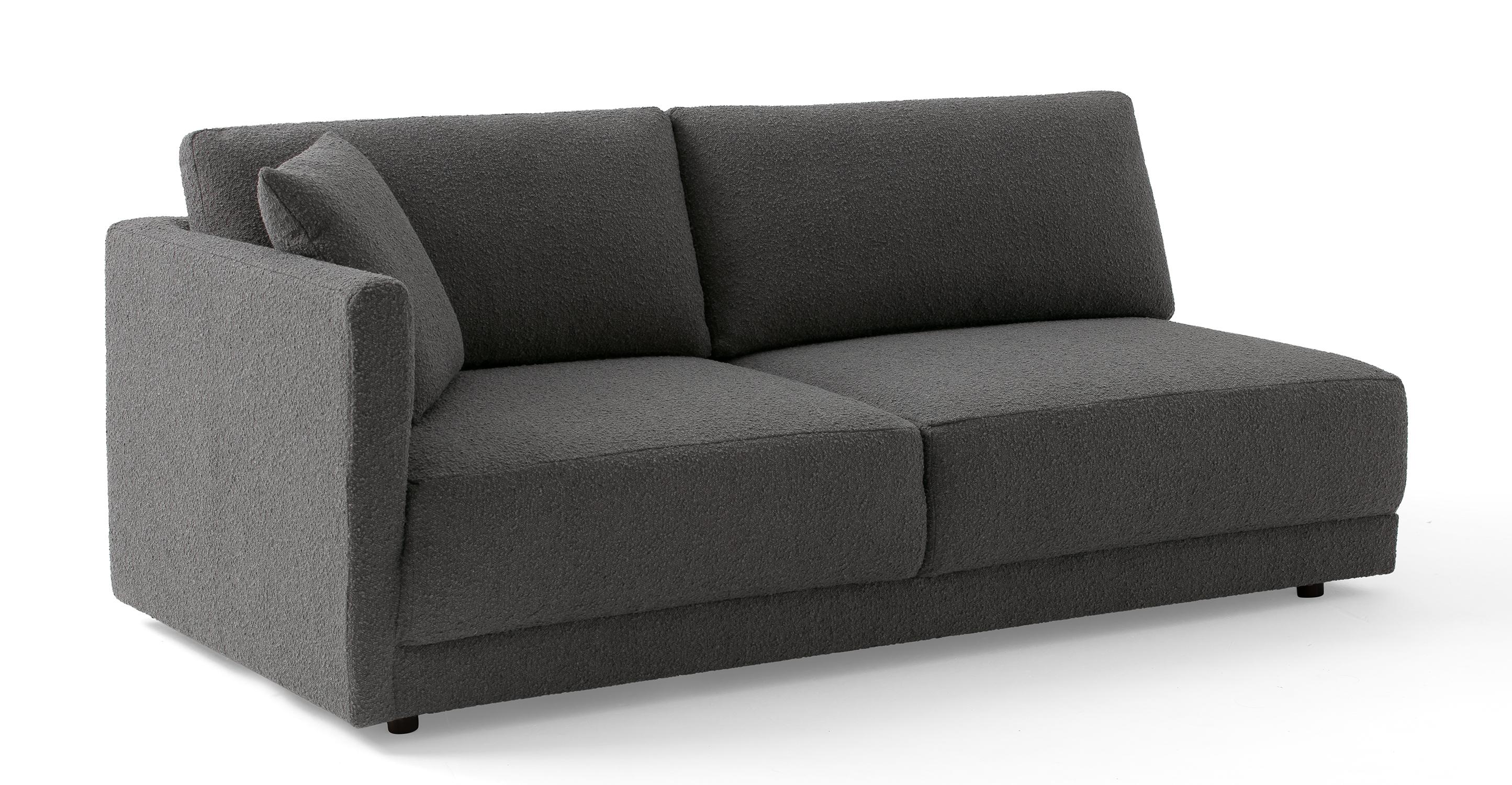 """Domus 77"""" Left Arm Fabric Sofa, Gris Boucle"""