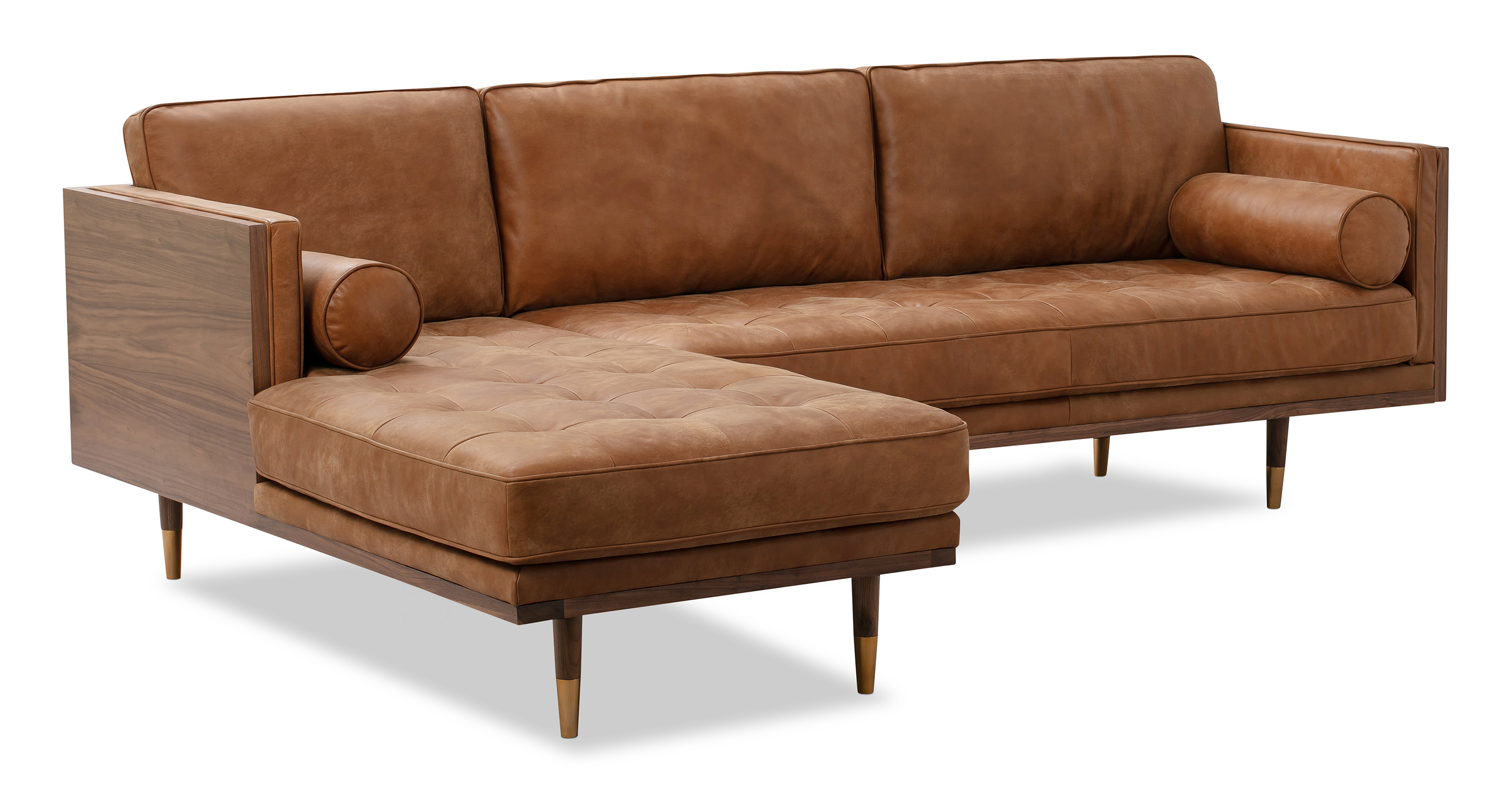 "Woodrow Skandi 95"" Leather Sectional Left, Walnut/Cognac"