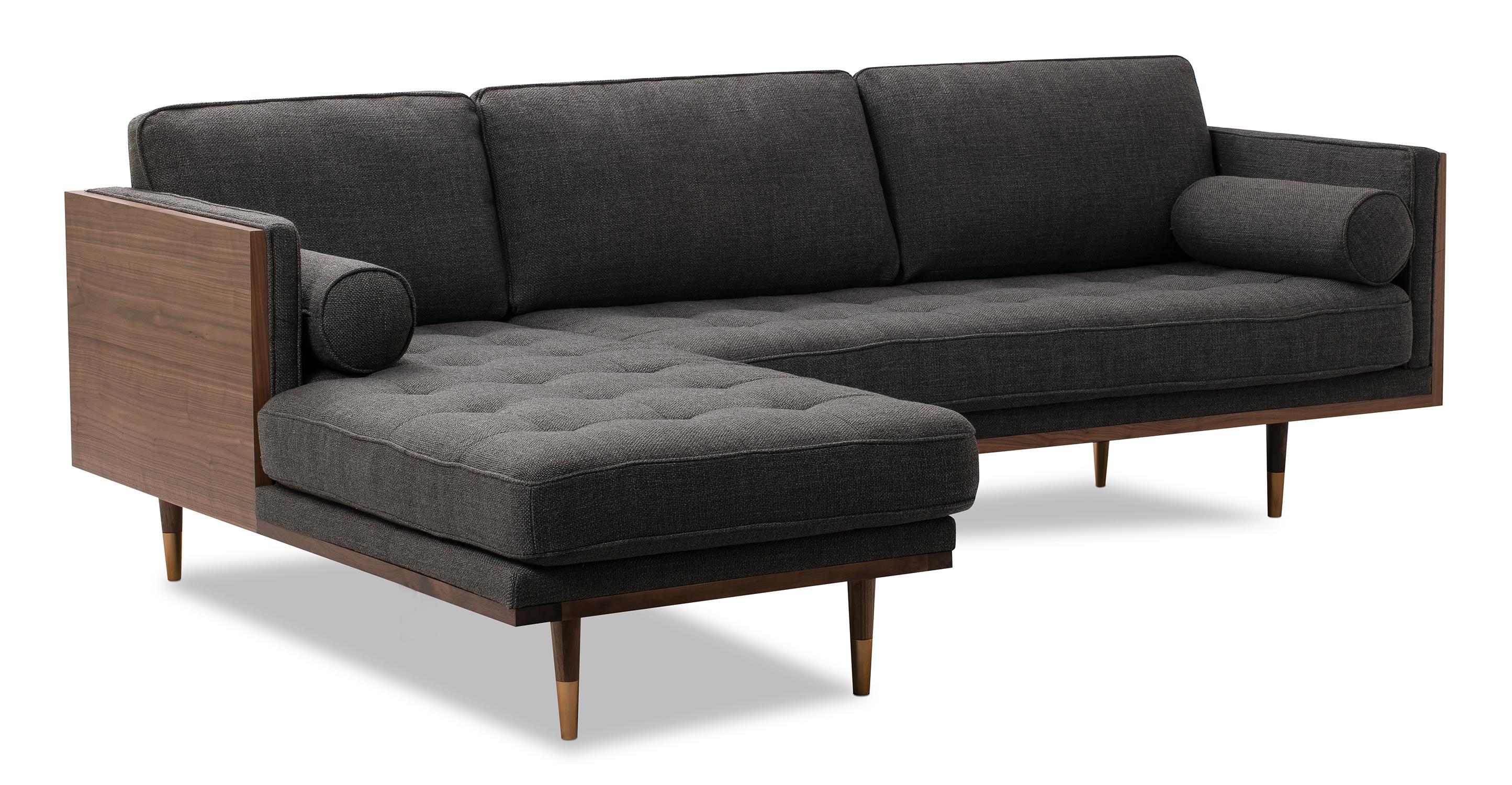 "Woodrow Skandi 95"" Fabric Sectional Left, Walnut/Dior Grey"