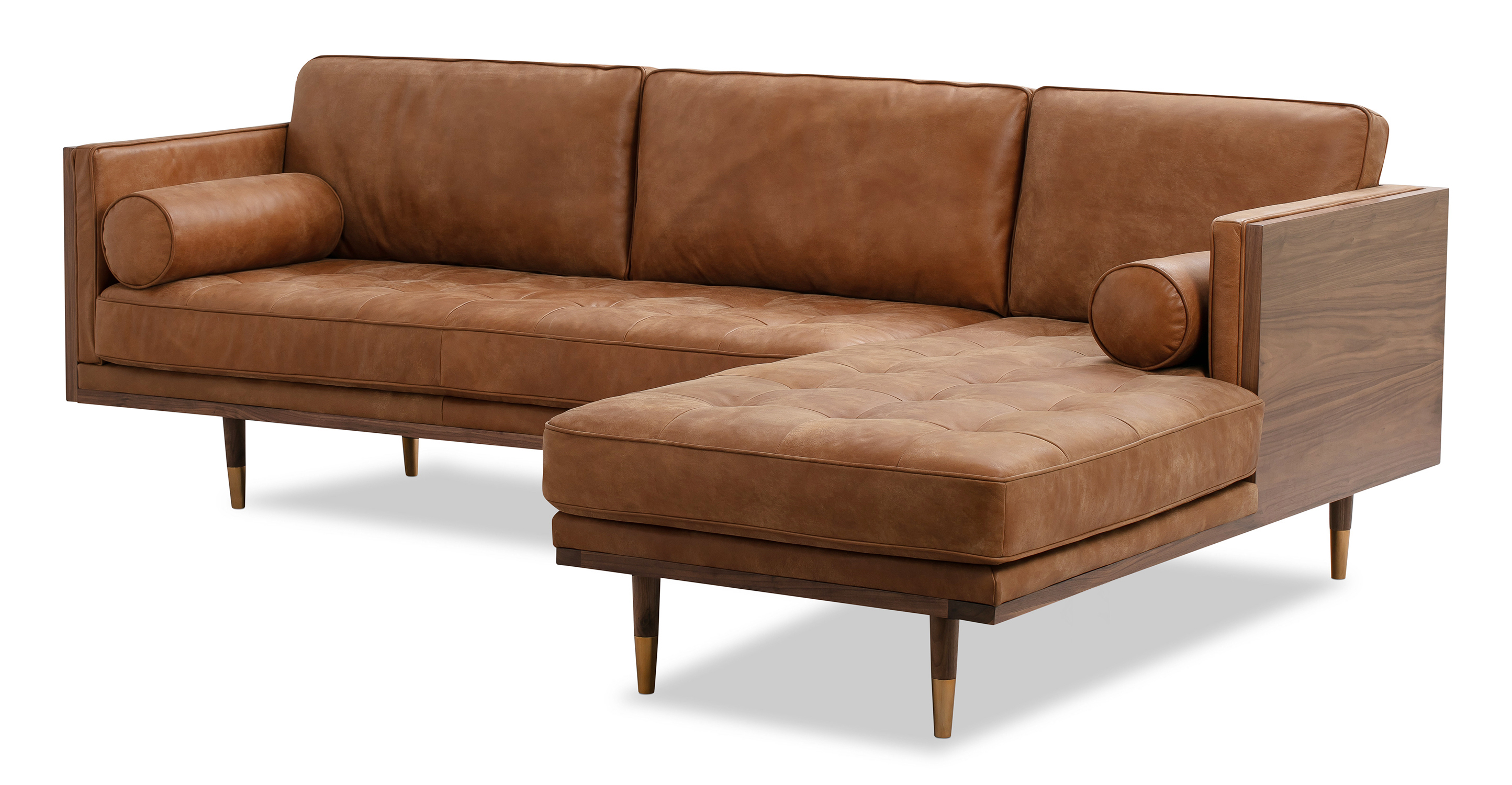 "Woodrow Skandi 95"" Leather Sectional Right, Walnut/Cognac"