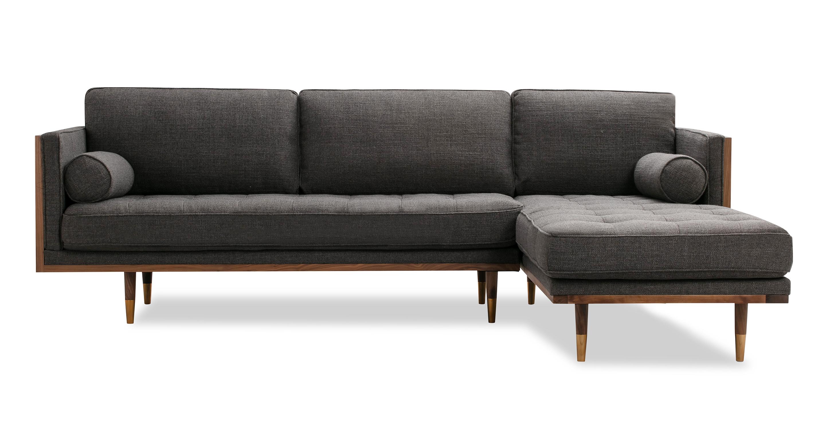 "Woodrow Skandi 100"" Fabric Sectional Right, Walnut/Dior Grey"