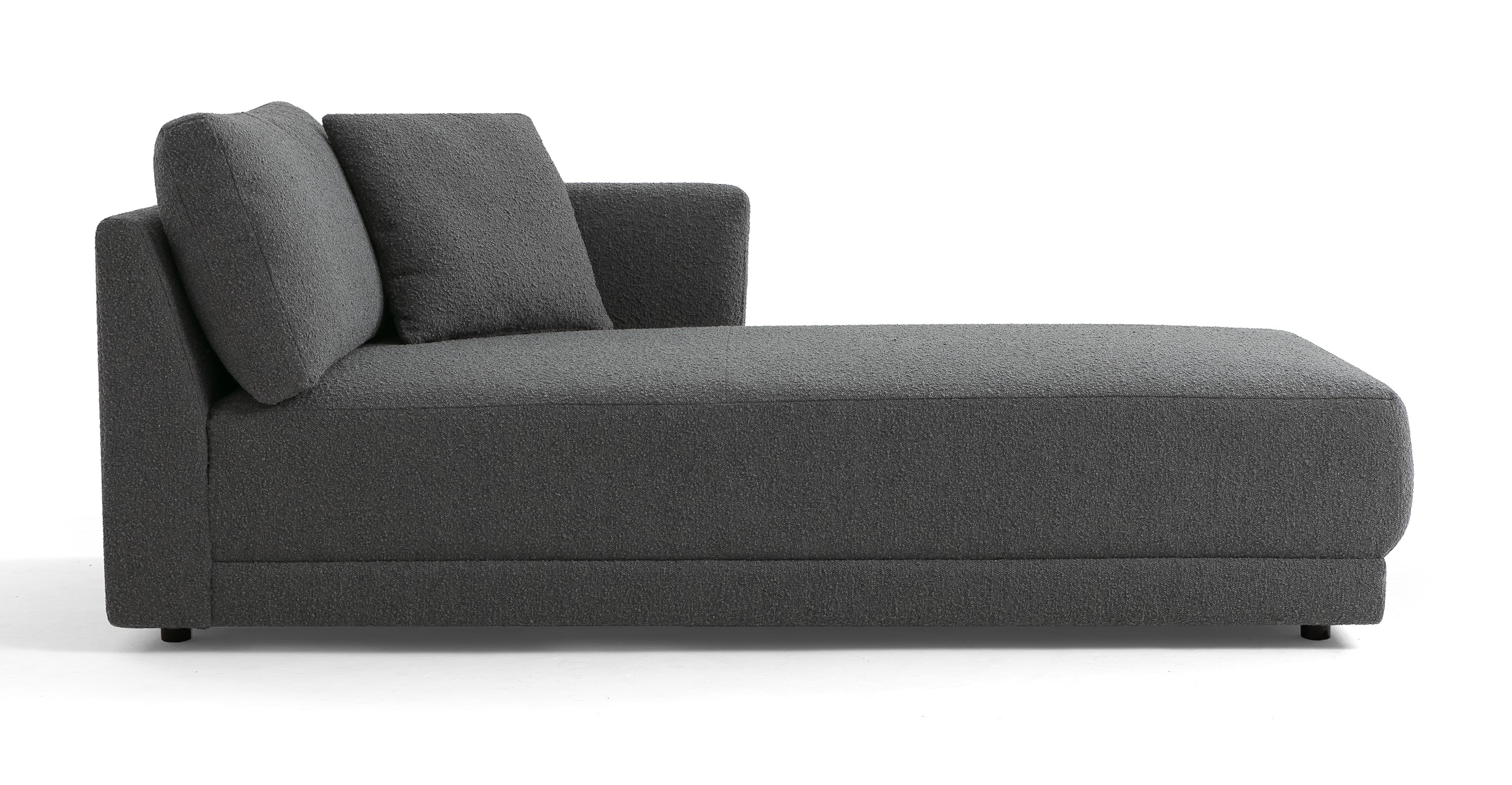 "Domus 39"" Right Chaise Fabric Sofa, Gris Boucle"