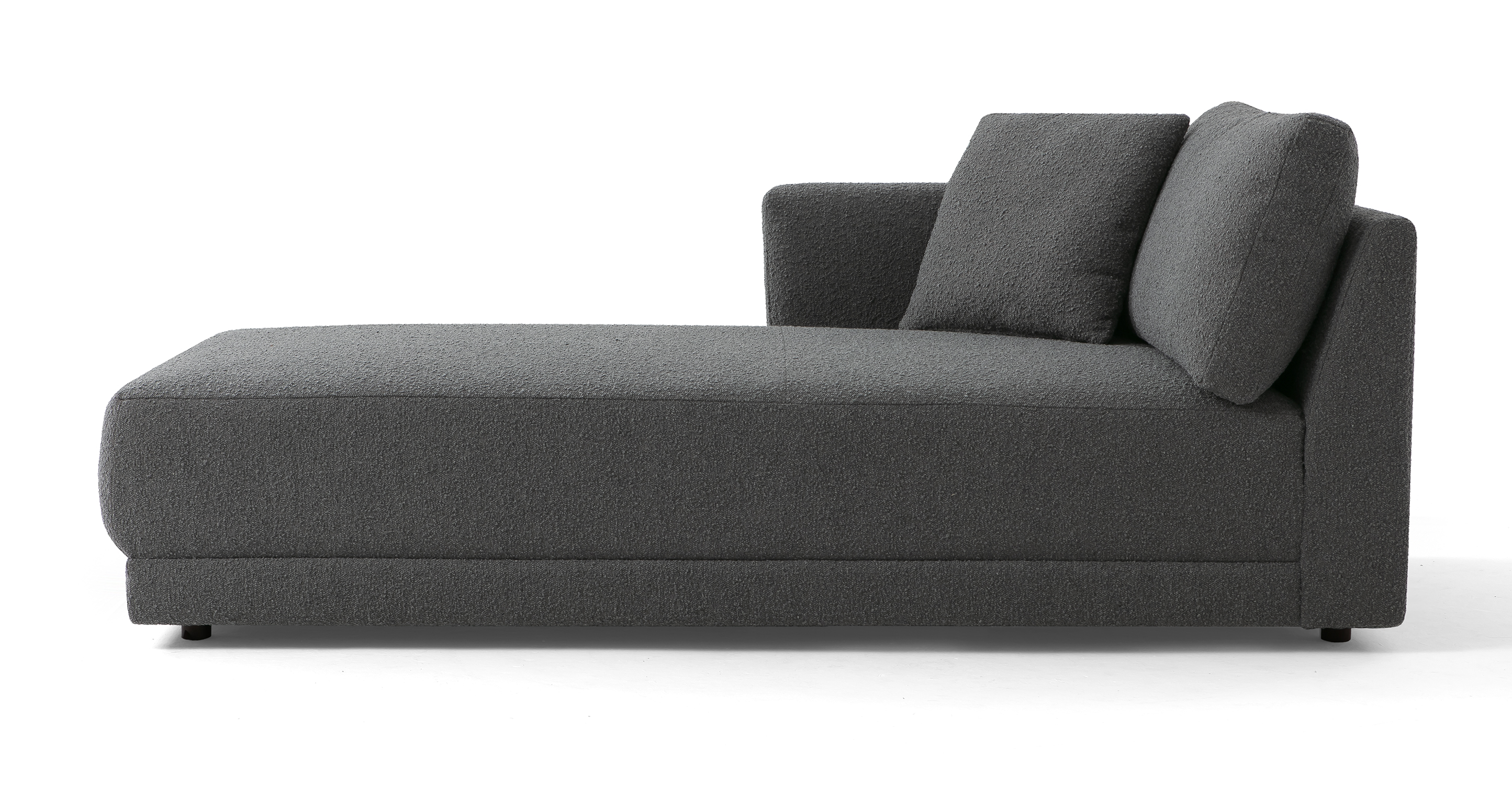 "Domus 39"" Left Chaise Fabric Sofa, Gris Boucle"