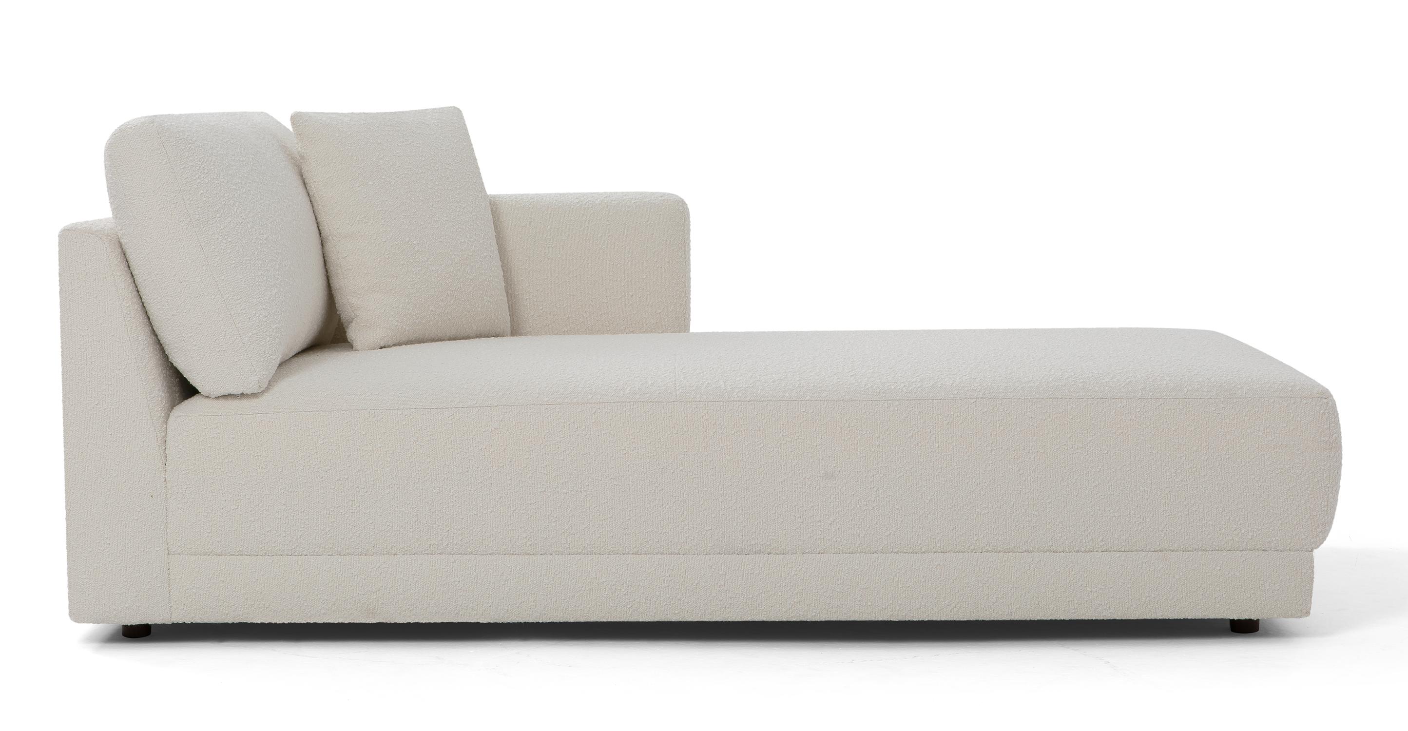 "Domus 39"" Right Chaise Fabric Sofa, Blanc Boucle"