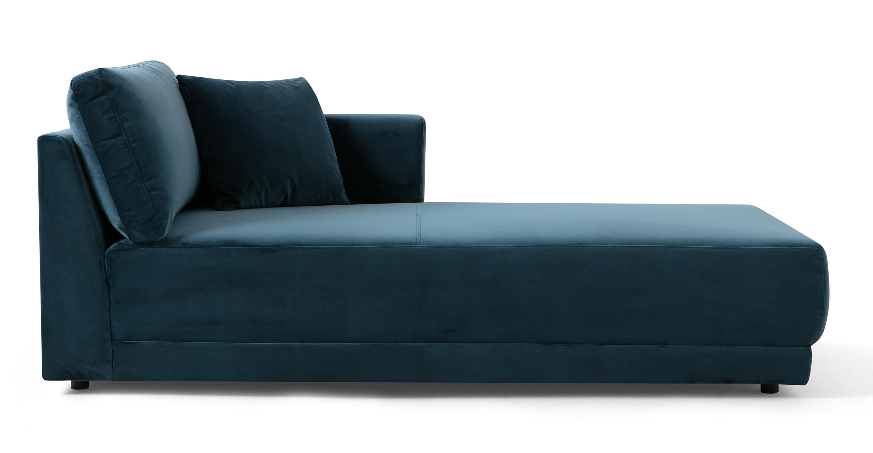 "Domus 39"" Right Chaise Fabric Sofa, Petrol Velvet"